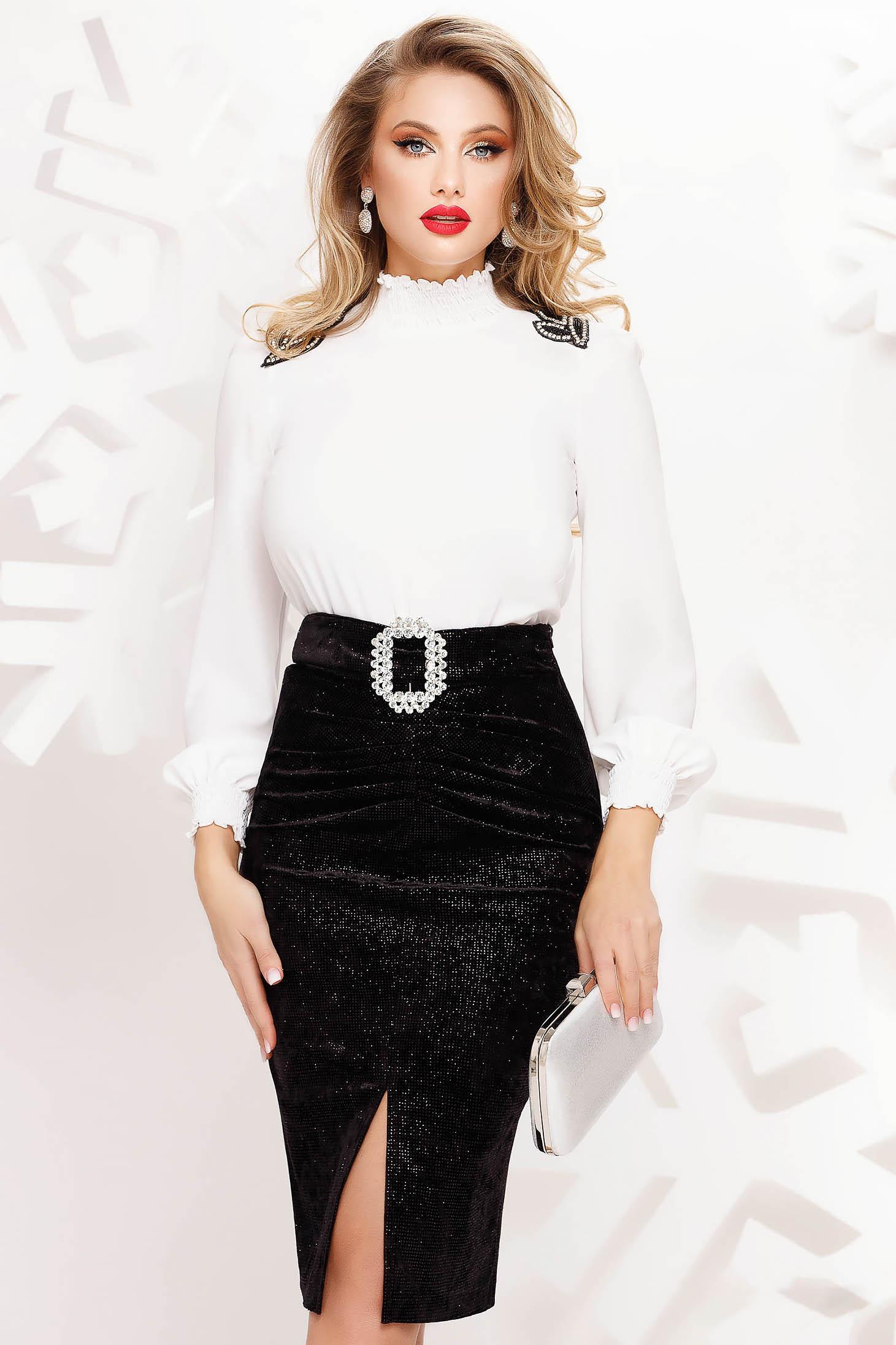 White women`s blouse elegant flared with turtle neck thin fabric