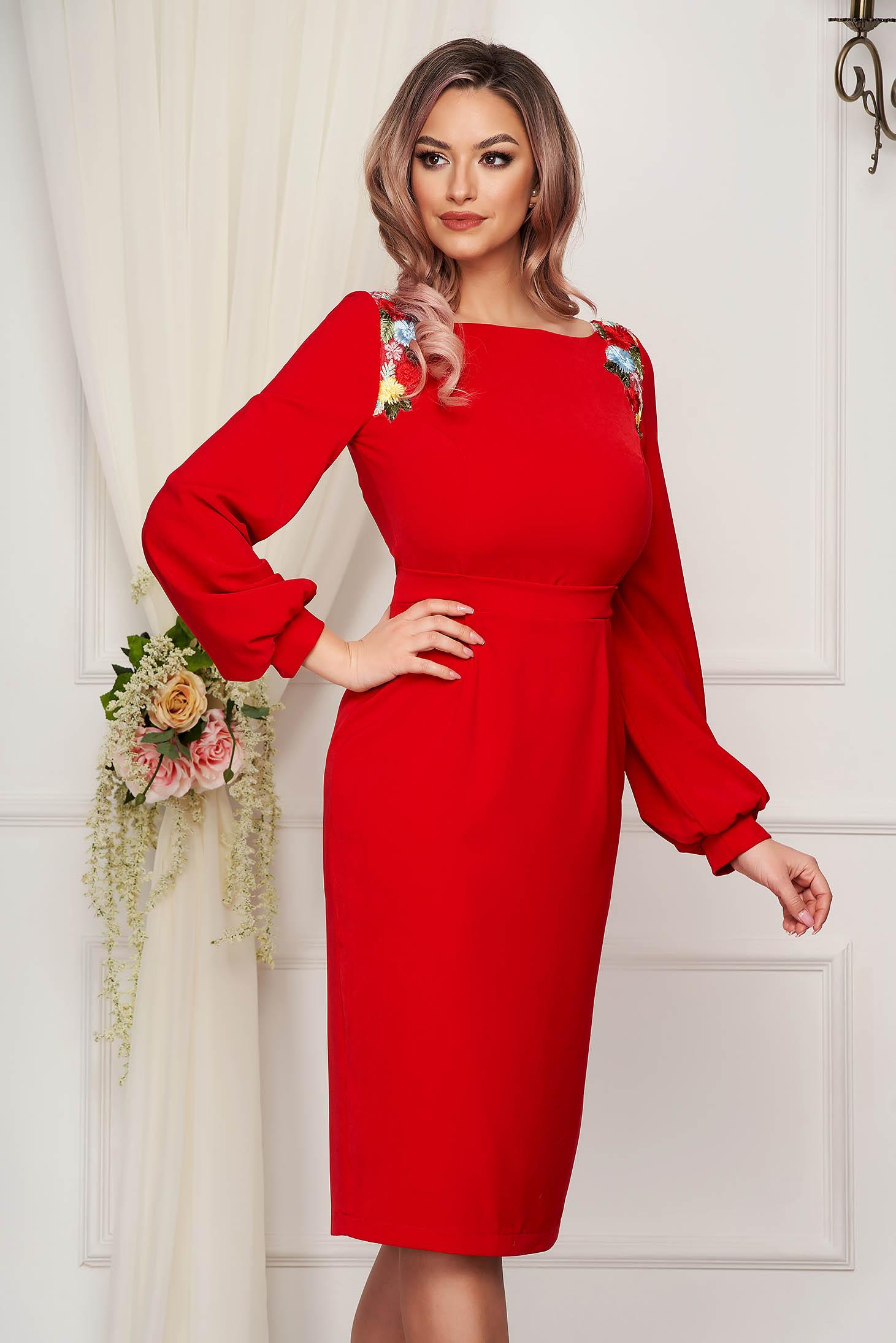 Occasional midi dress StarShinerS red pencil cloth thin fabric