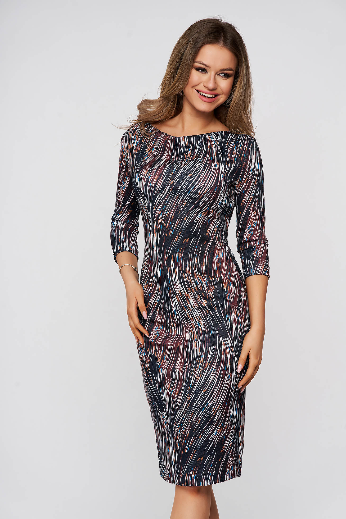 Dress StarShinerS daily darkblue midi pencil with 3/4 sleeves