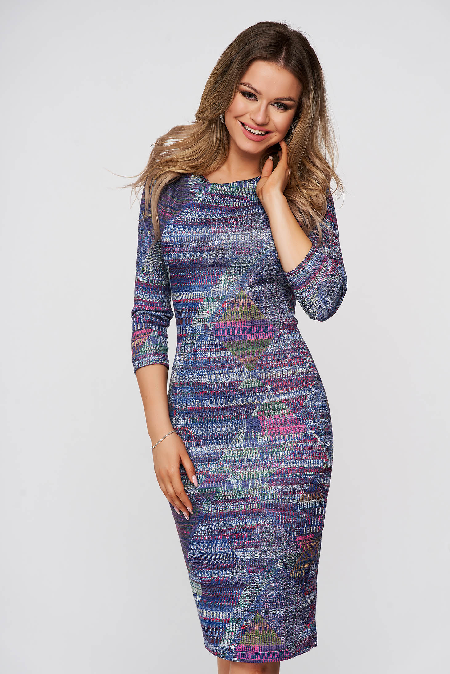 Dress StarShinerS daily blue midi pencil with 3/4 sleeves
