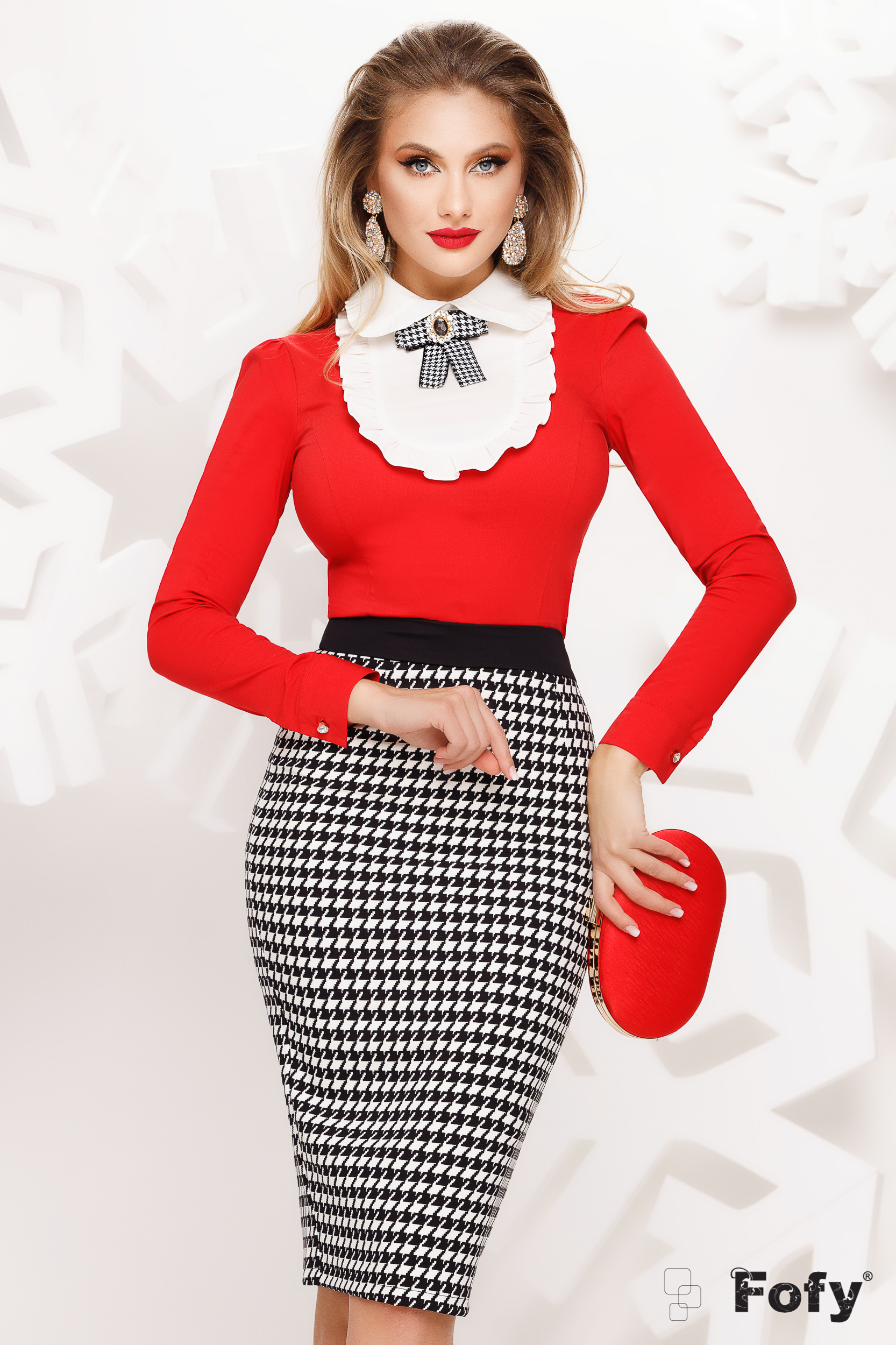 Women`s shirt red elegant bow accessory accessorized with breastpin ruffled collar