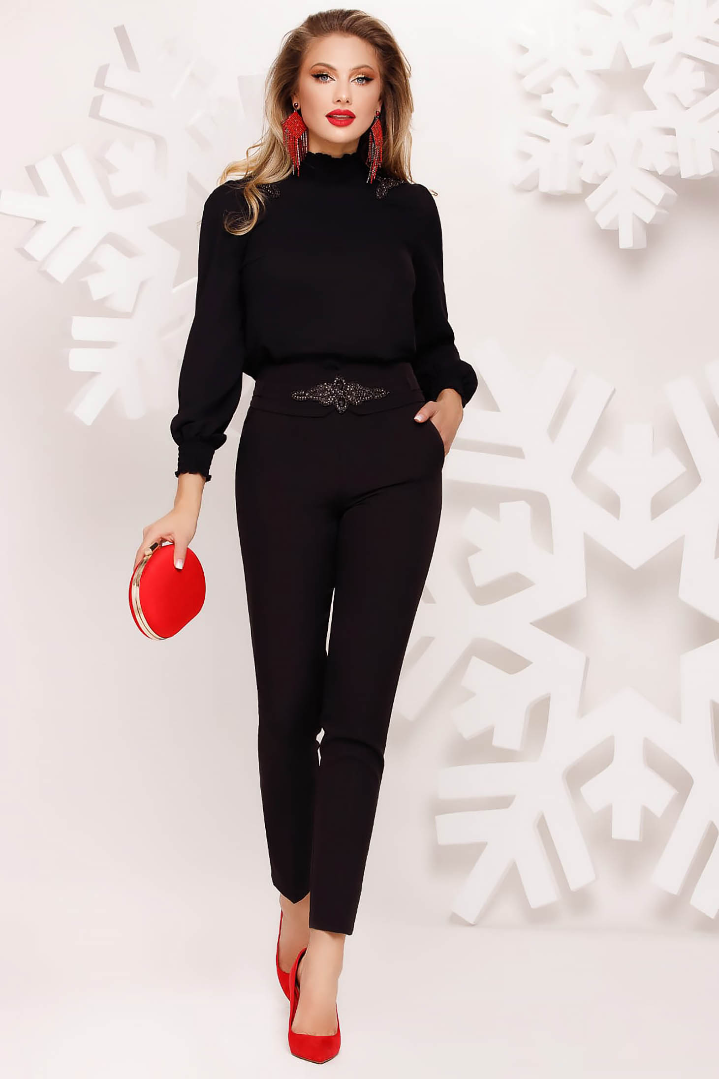 Black trousers occasional conical accessorized with belt with small beads embellished details with embellished accessories