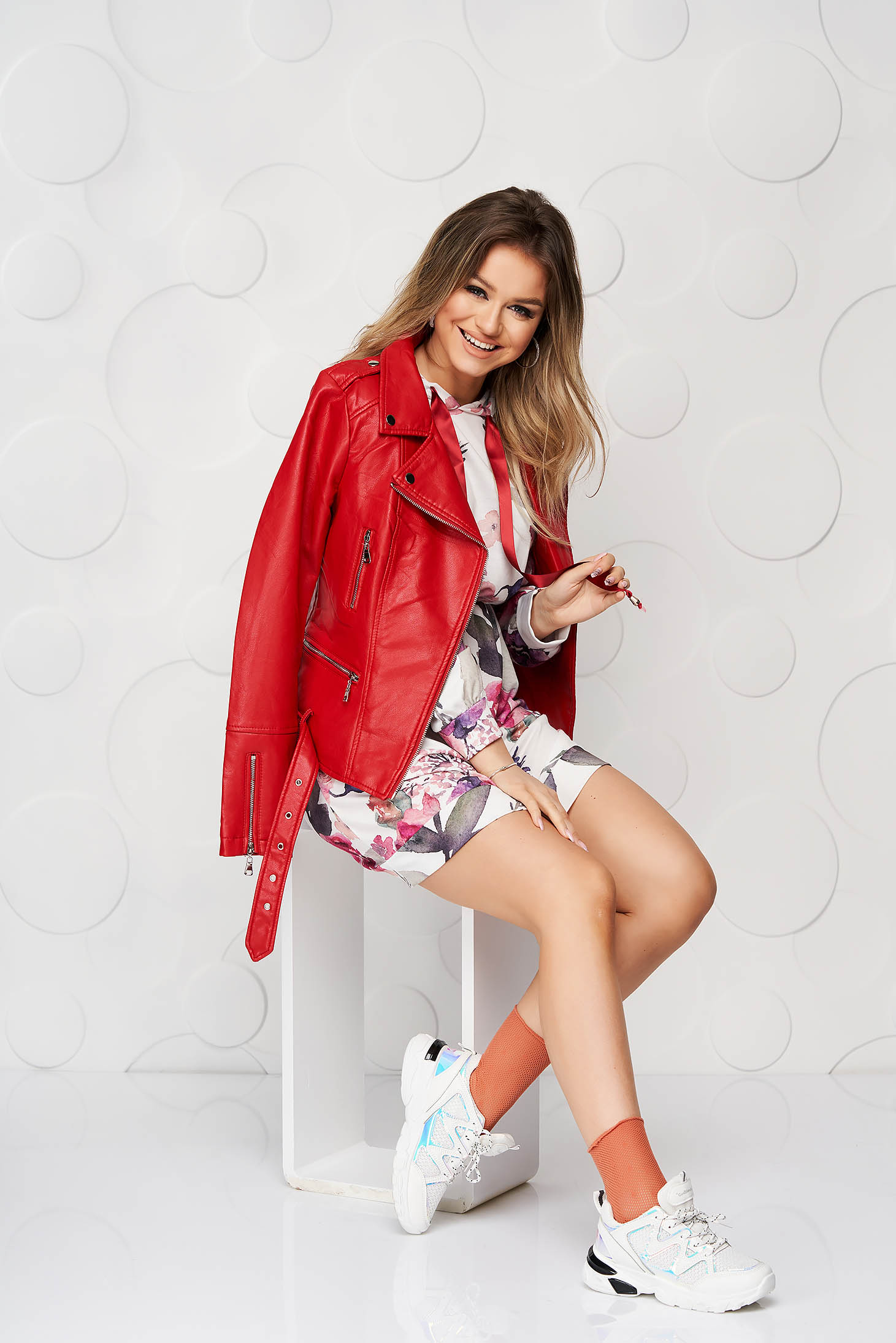 Burgundy dress casual short cut with elastic waist