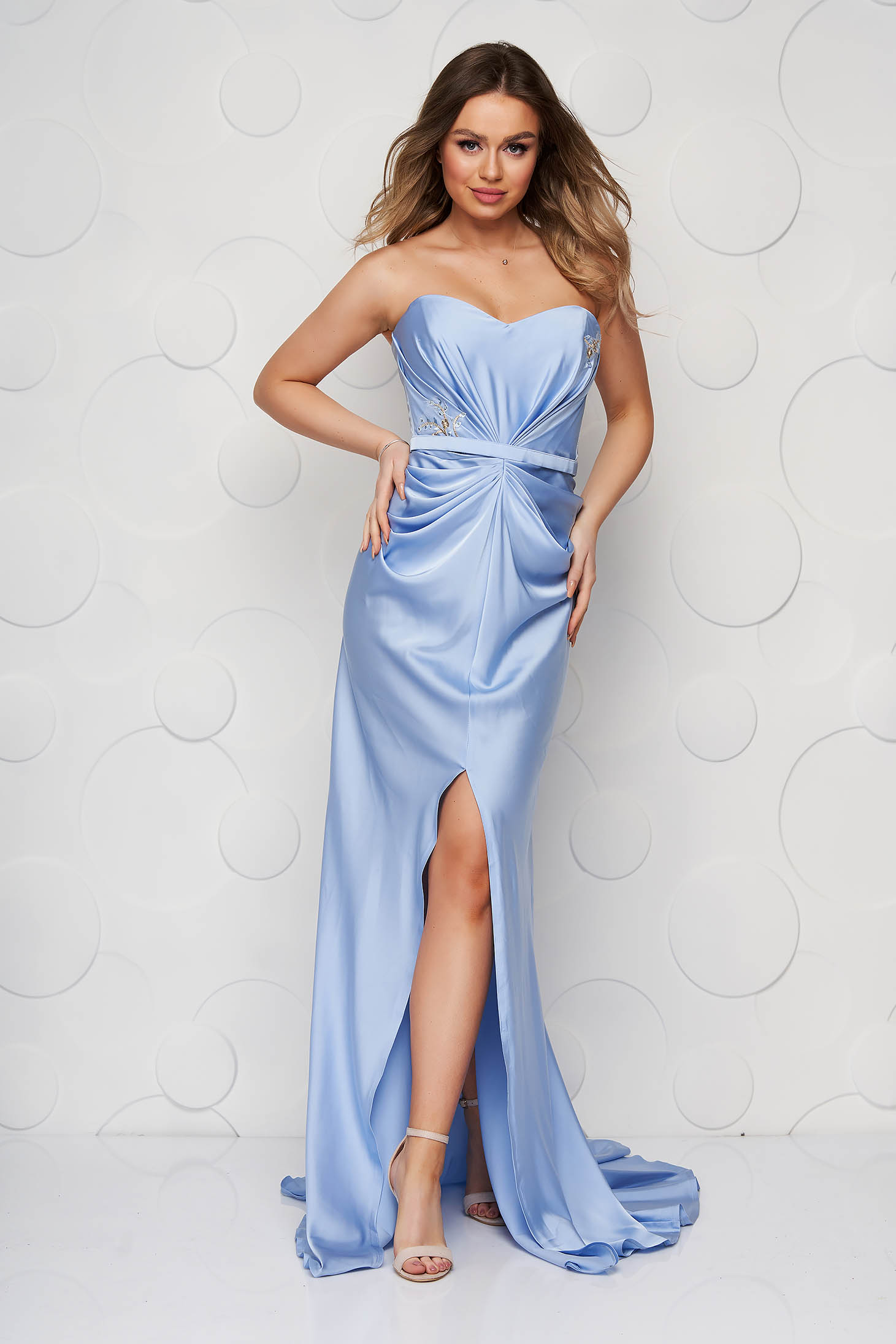 Lightblue dress long from satin luxurious slit with push-up bra naked shoulders