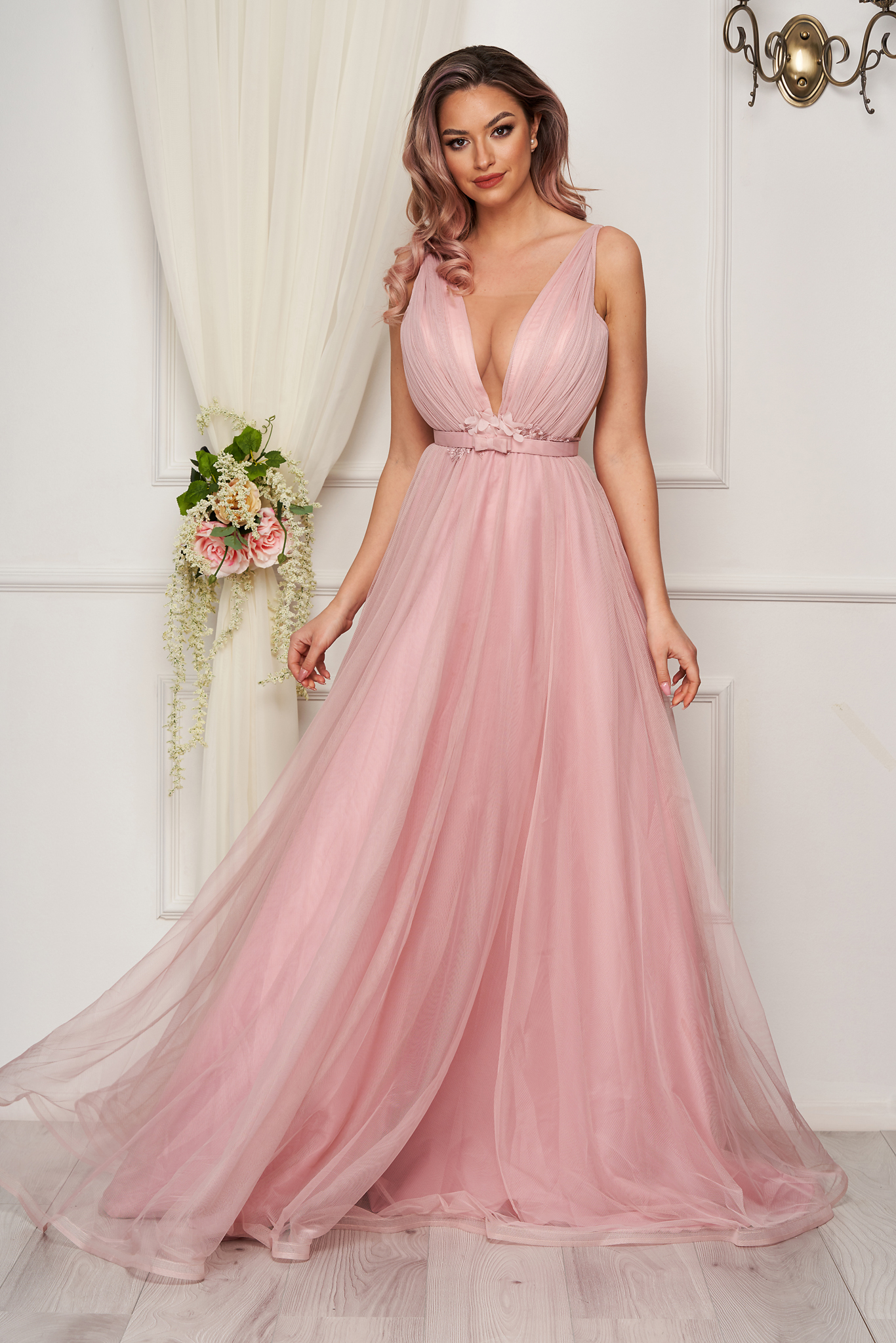 Lightpink dress from tulle cloche corset tipe fastening