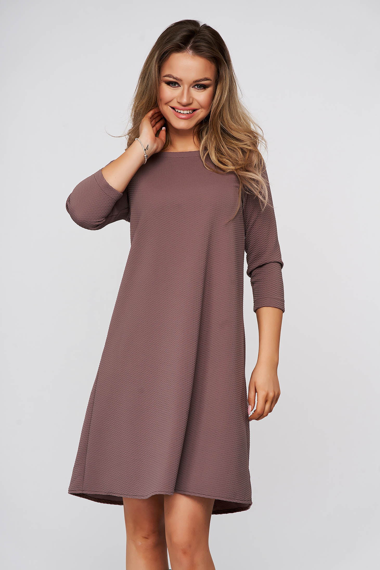 StarShinerS cappuccino dress daily short cut flared slightly elastic fabric