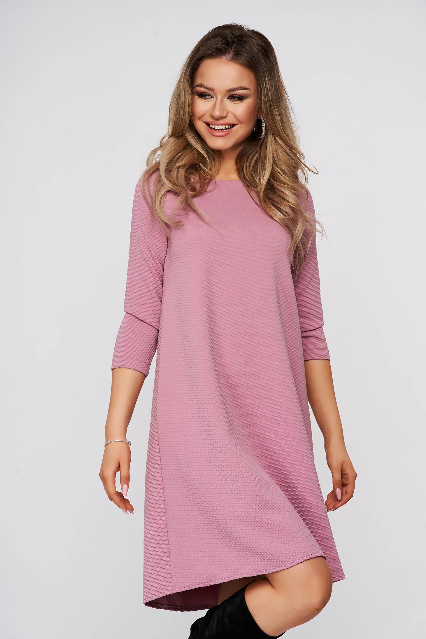 Rochie StarShinerS roz prafuit scurta de zi din material usor elastic gofrat cu croi larg