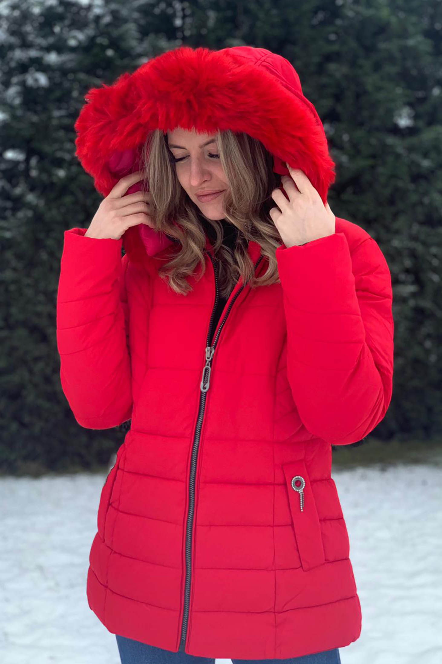 Red jacket short cut from slicker the jacket has hood and pockets with embellished accessories
