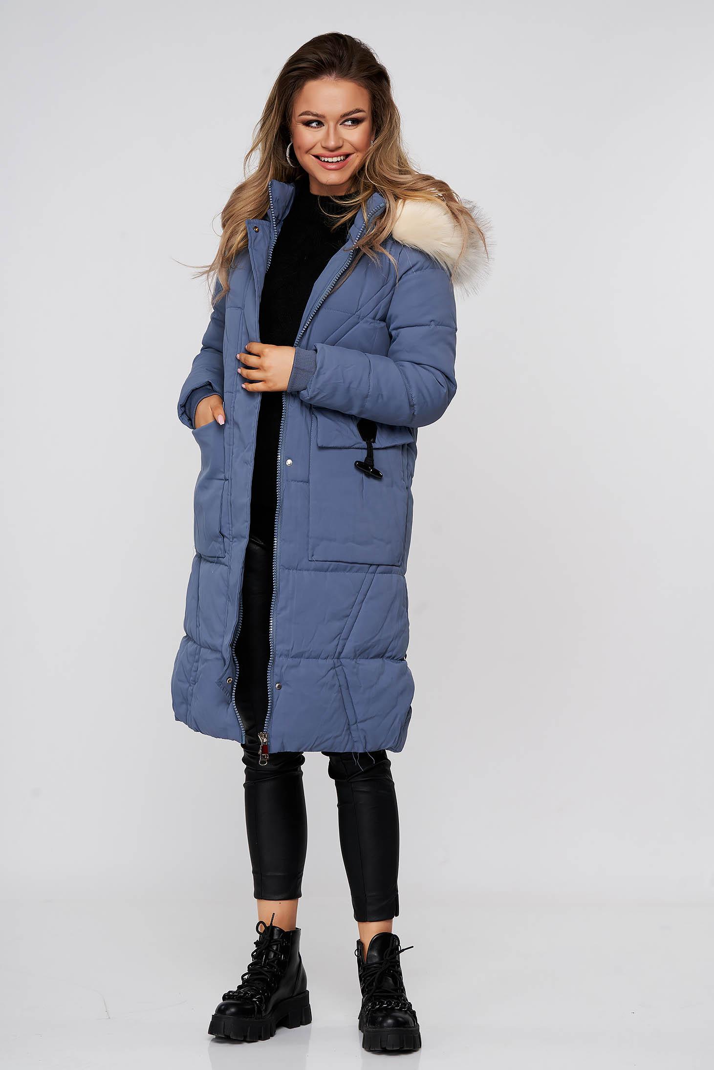 Kék eltávolítható kapucnis vízlepergető hosszú casual dzseki műszőrme díszítéssel