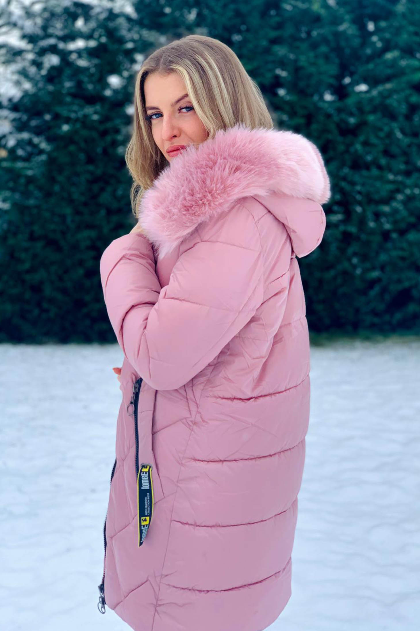 Lightpink jacket casual midi from slicker from shiny fabric with undetachable hood