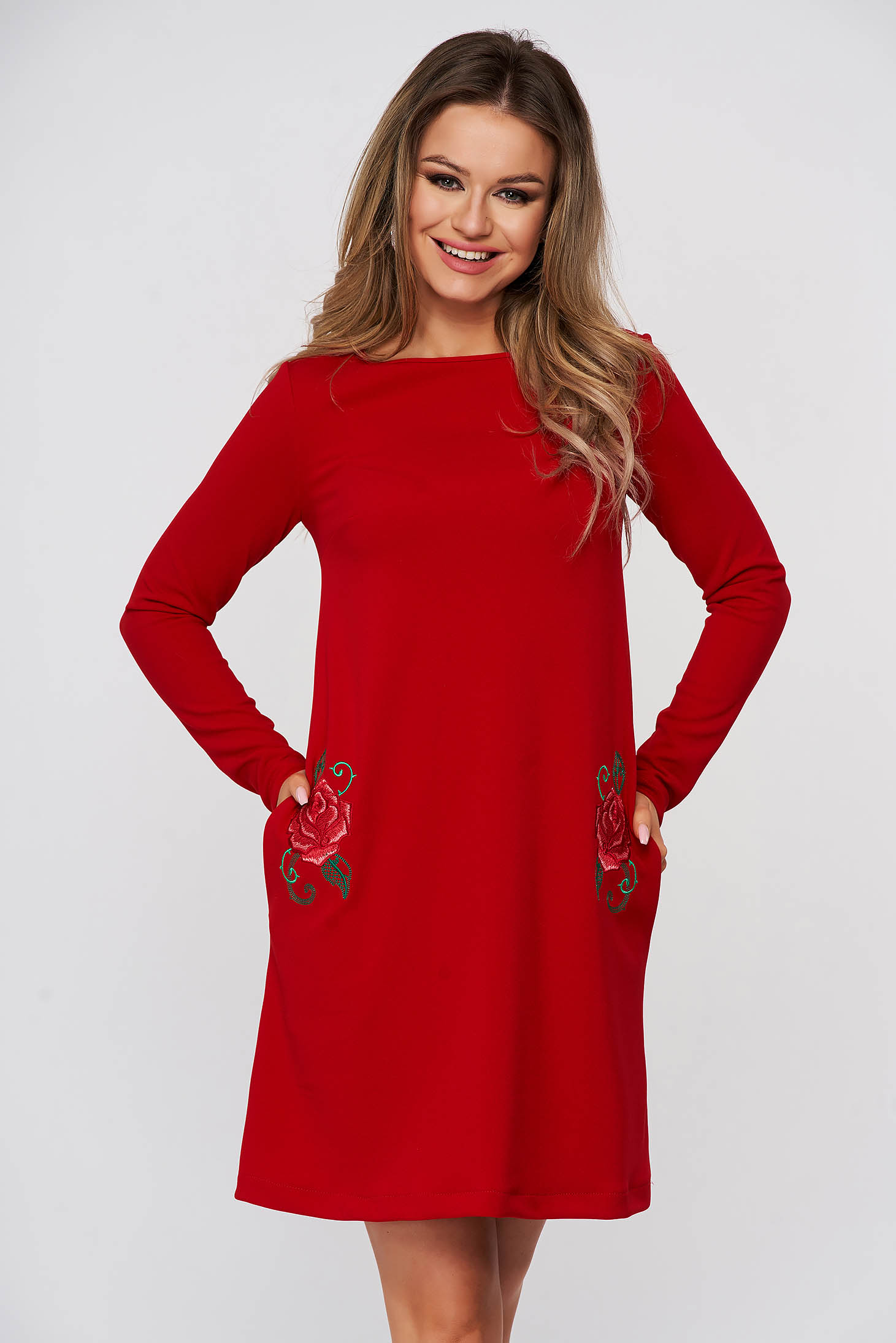 StarShinerS red dress short cut daily with pockets straight