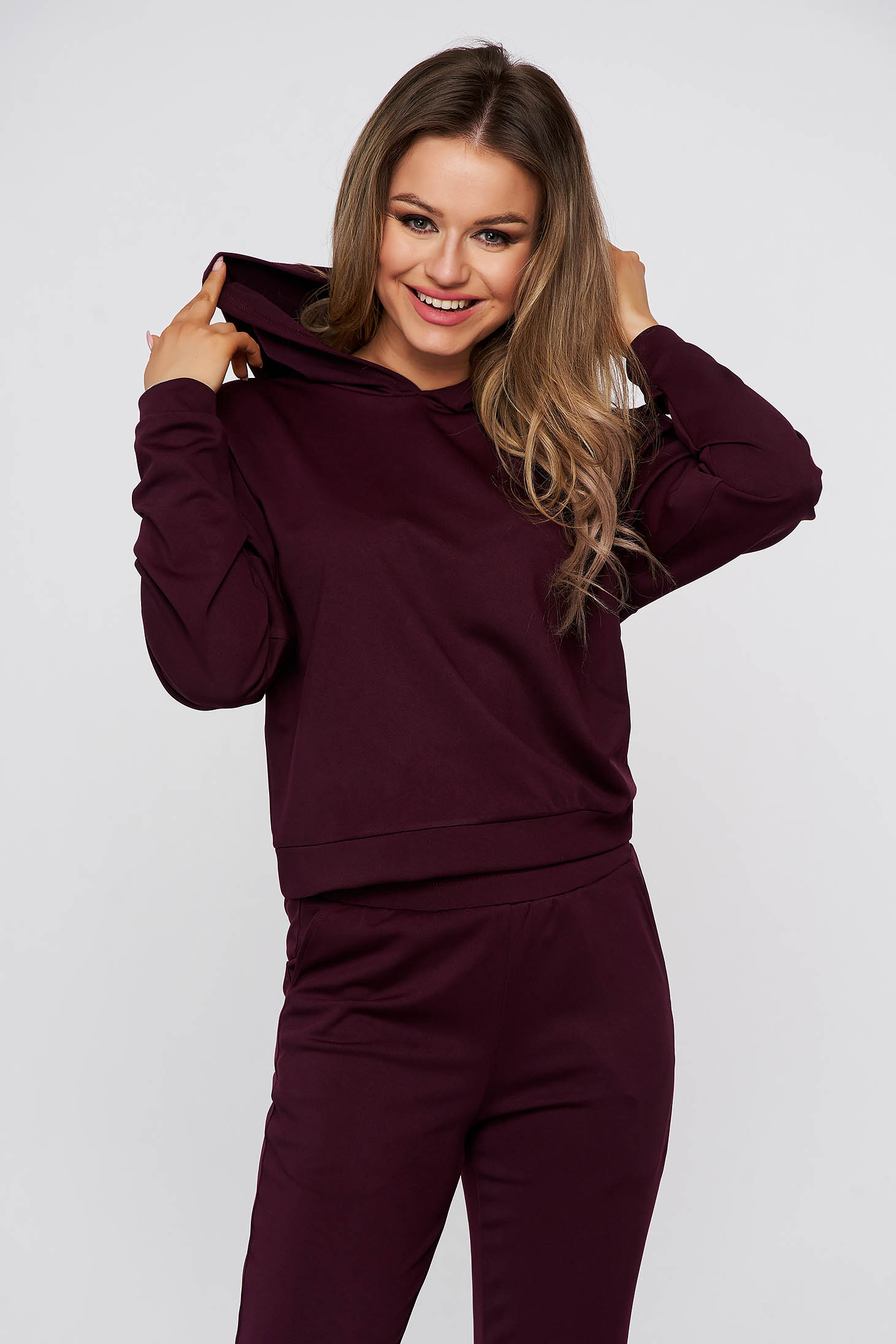 Purple sport 2 pieces flared from elastic and fine fabric with pockets
