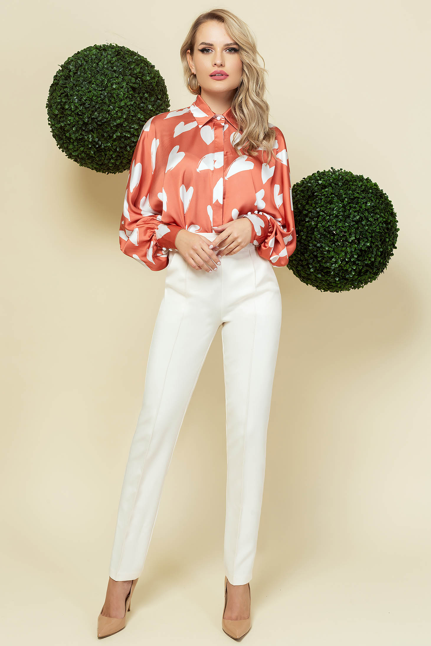 White trousers office cloth thin fabric with vertical stripes with pockets