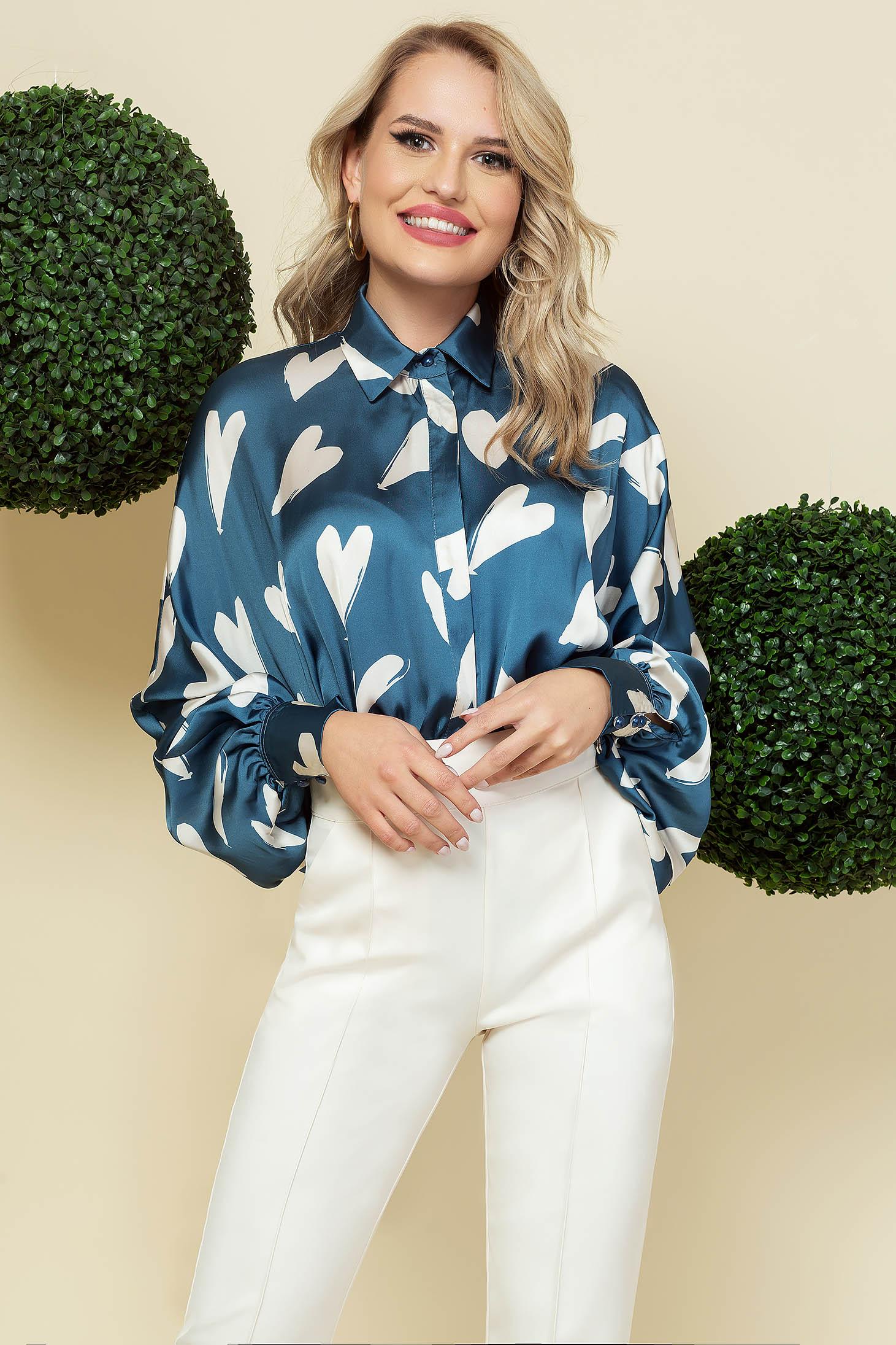 Kék bő szabású bő ujjú irodai női ing szatén anyagból