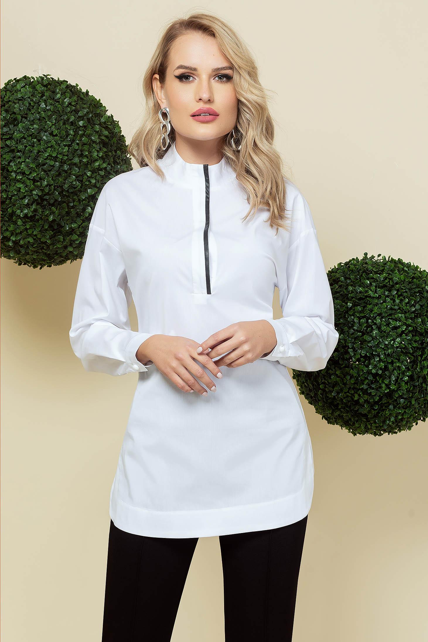 White women`s shirt elegant long loose fit poplin, thin cotton