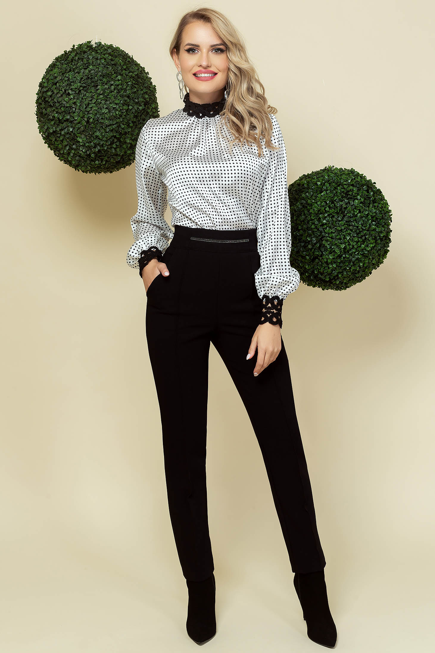 Black trousers office conical cloth high waisted lateral pockets