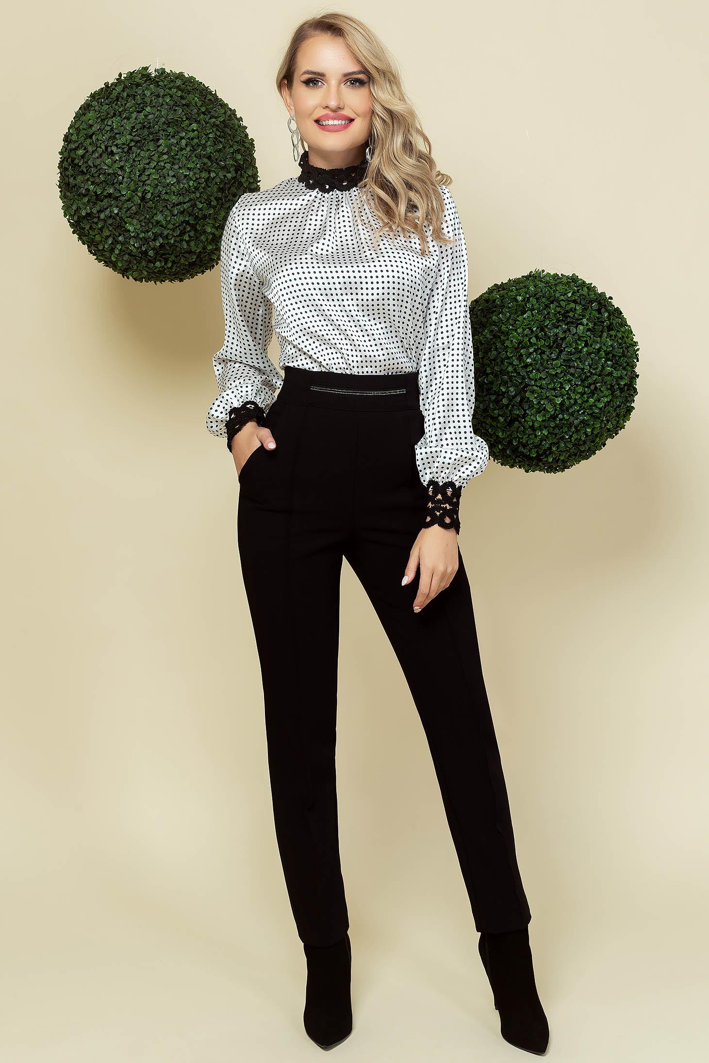 Pantaloni PrettyGirl negri office conici din stofa cu talie inalta si buzunare laterale