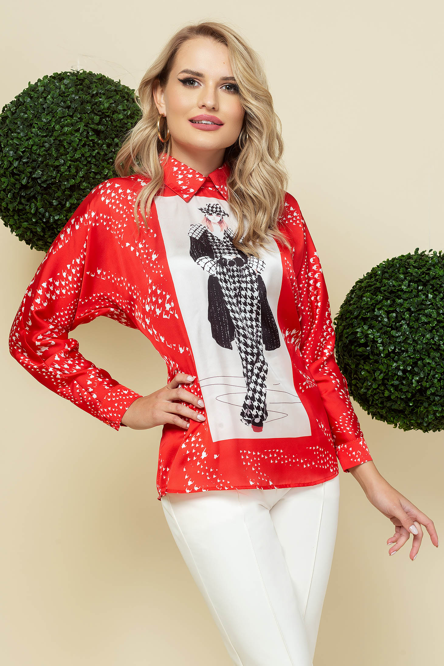 Red women`s blouse elegant loose fit from satin fabric texture