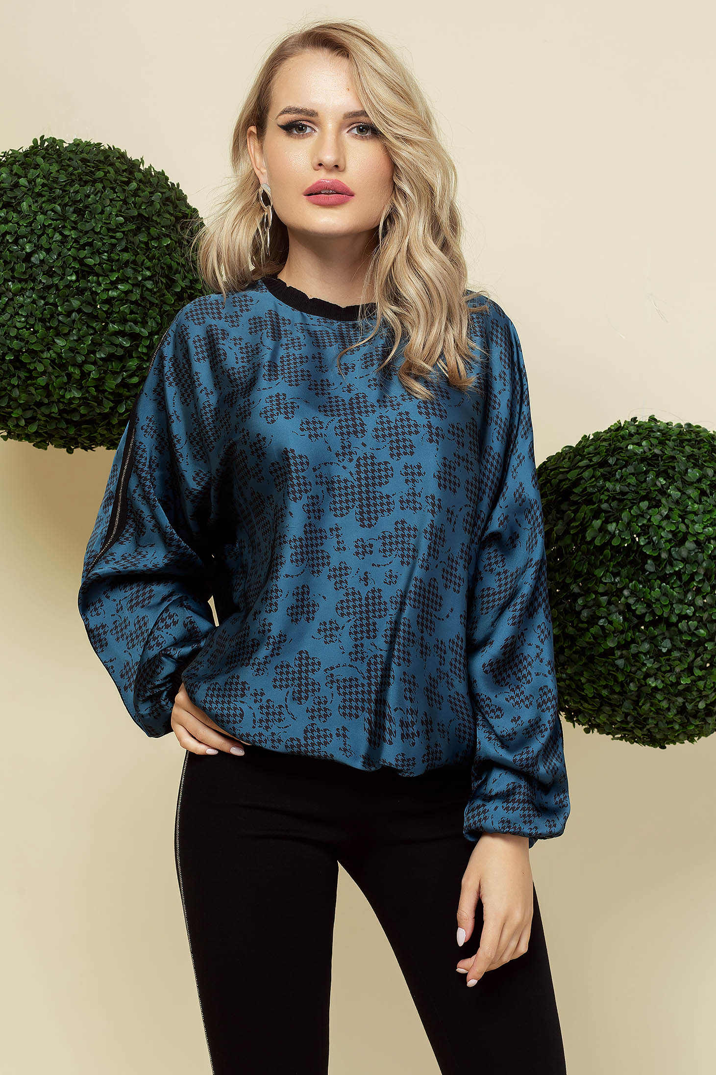Blue women`s blouse office from satin loose fit neckline