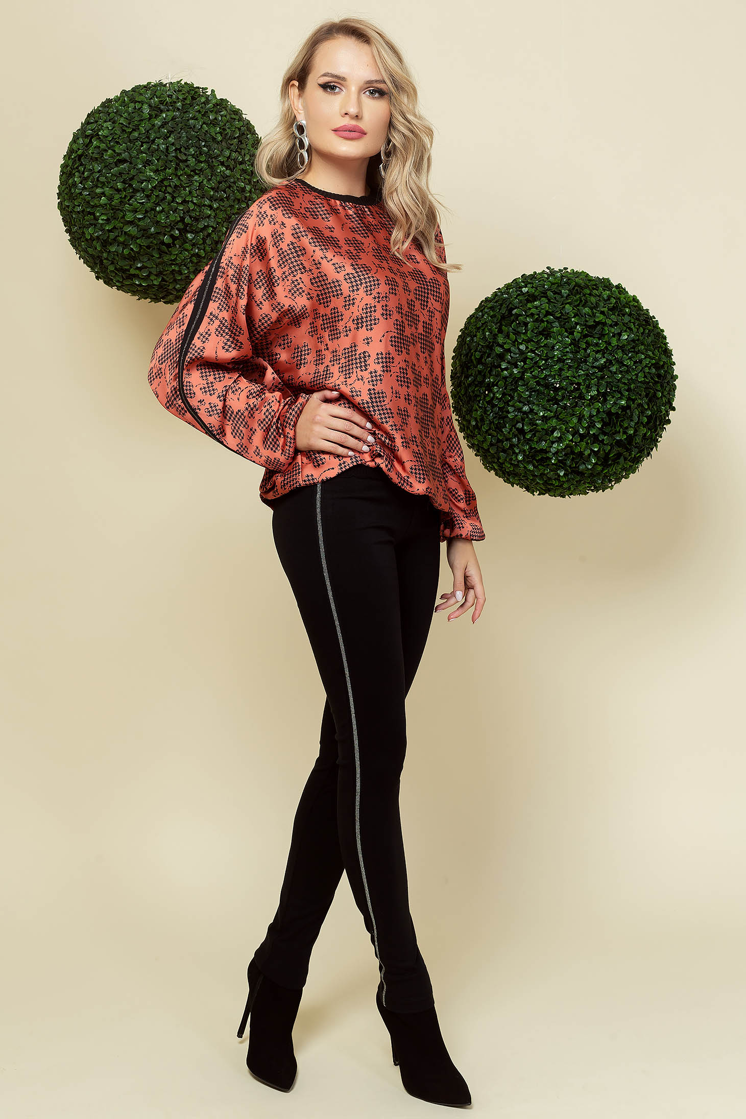 Black trousers office conical high waisted with small beads embellished details