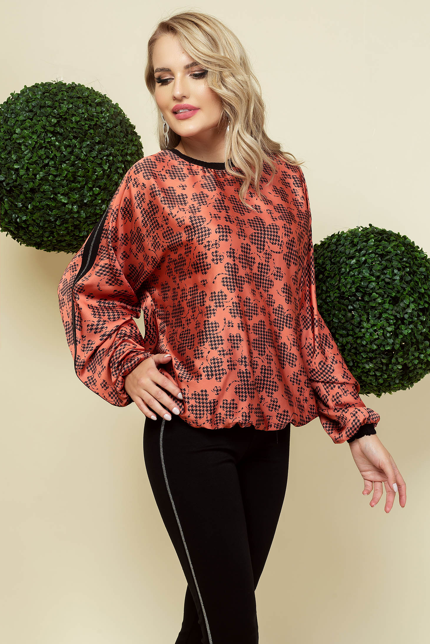Bricky women`s blouse office from satin loose fit neckline