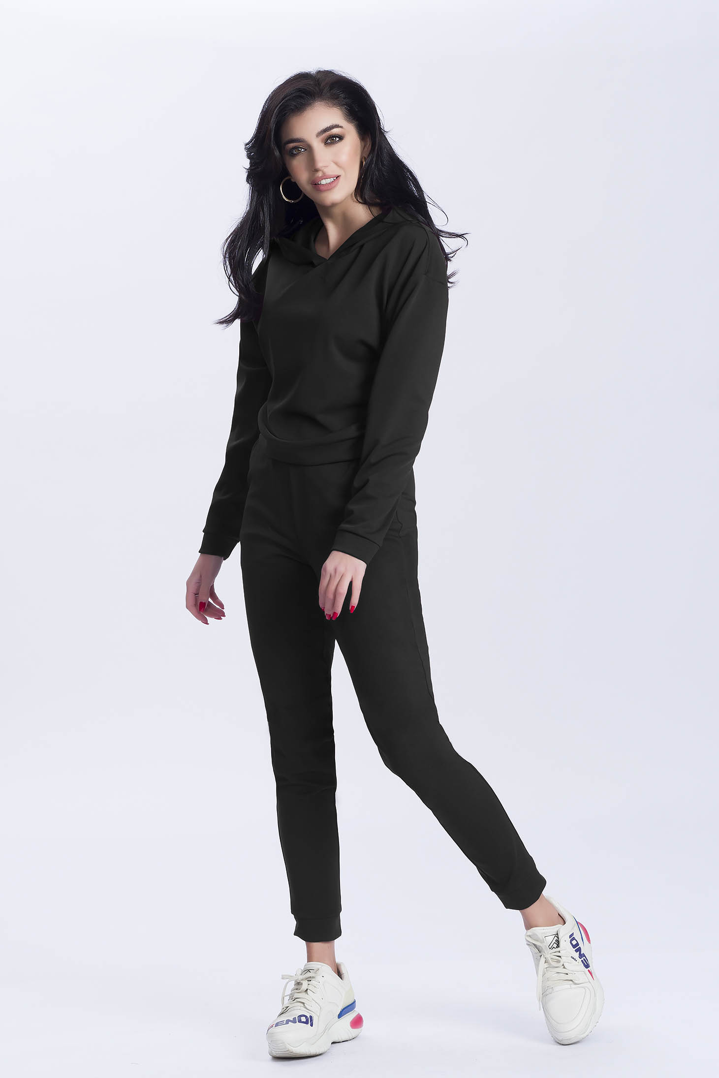 Black sport 2 pieces from two pieces with trousers cotton with undetachable hood