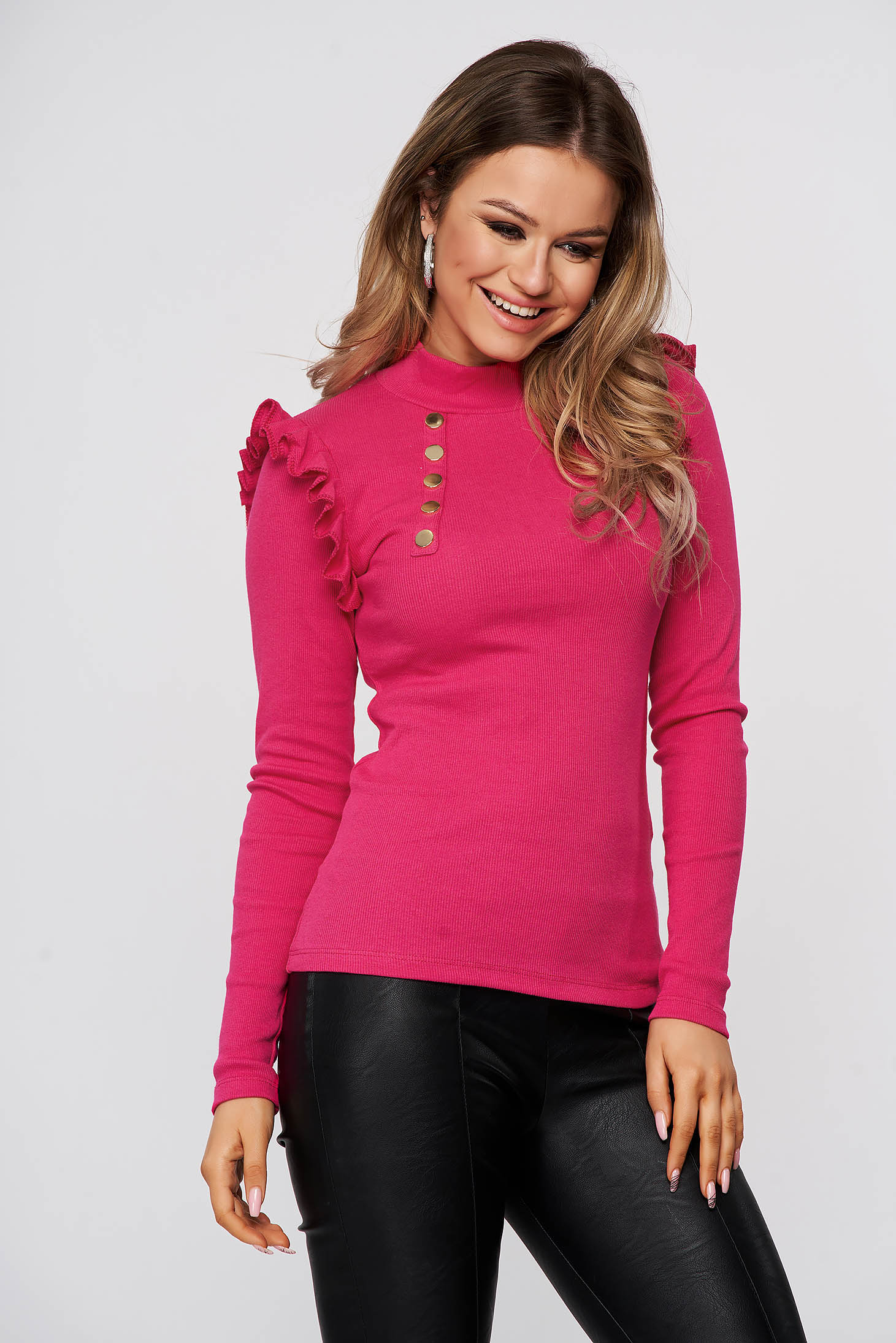 Women`s blouse cotton from striped fabric tented pink with ruffle details with turtle neck