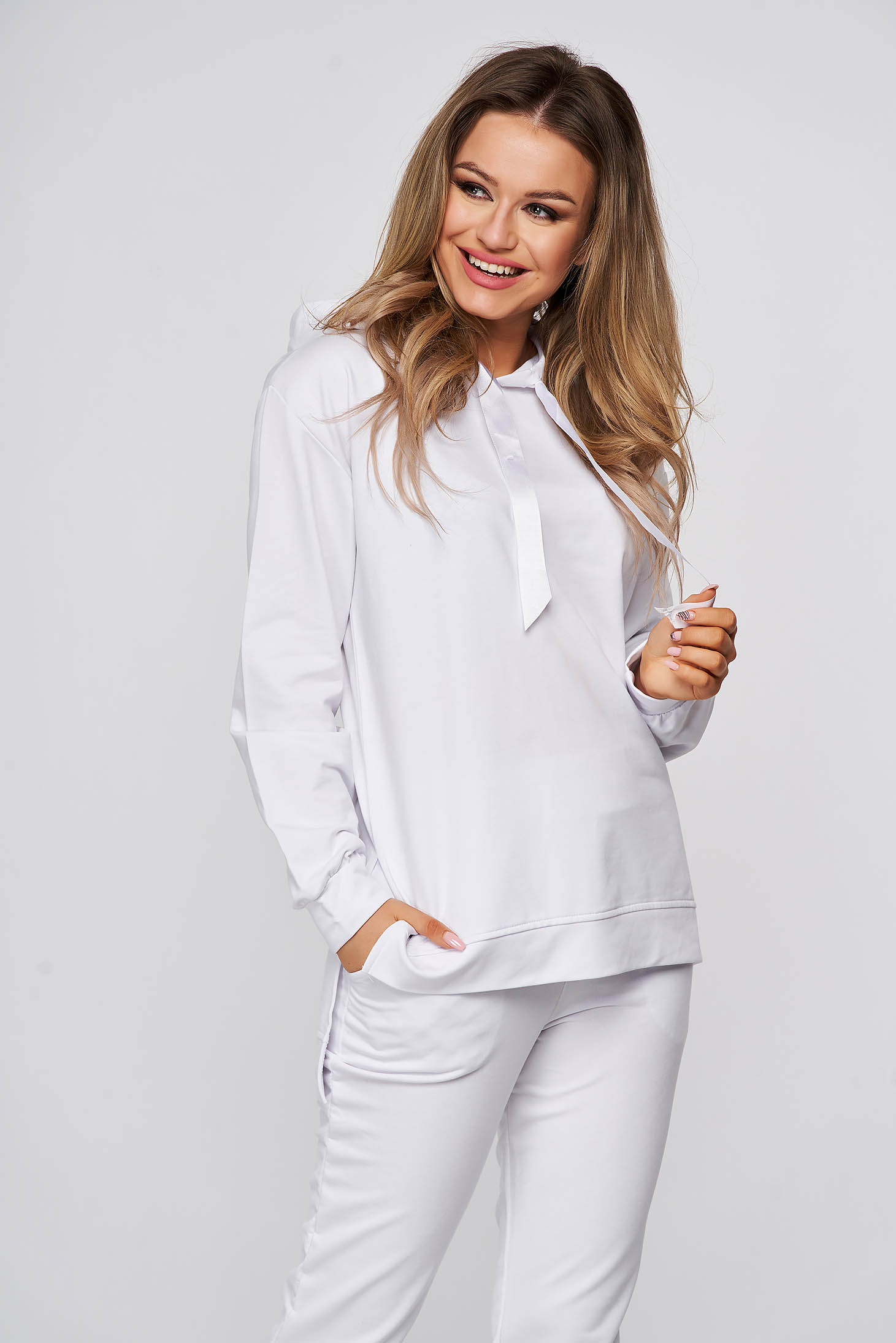 With trousers from two pieces cotton white sport 2 pieces with easy cut