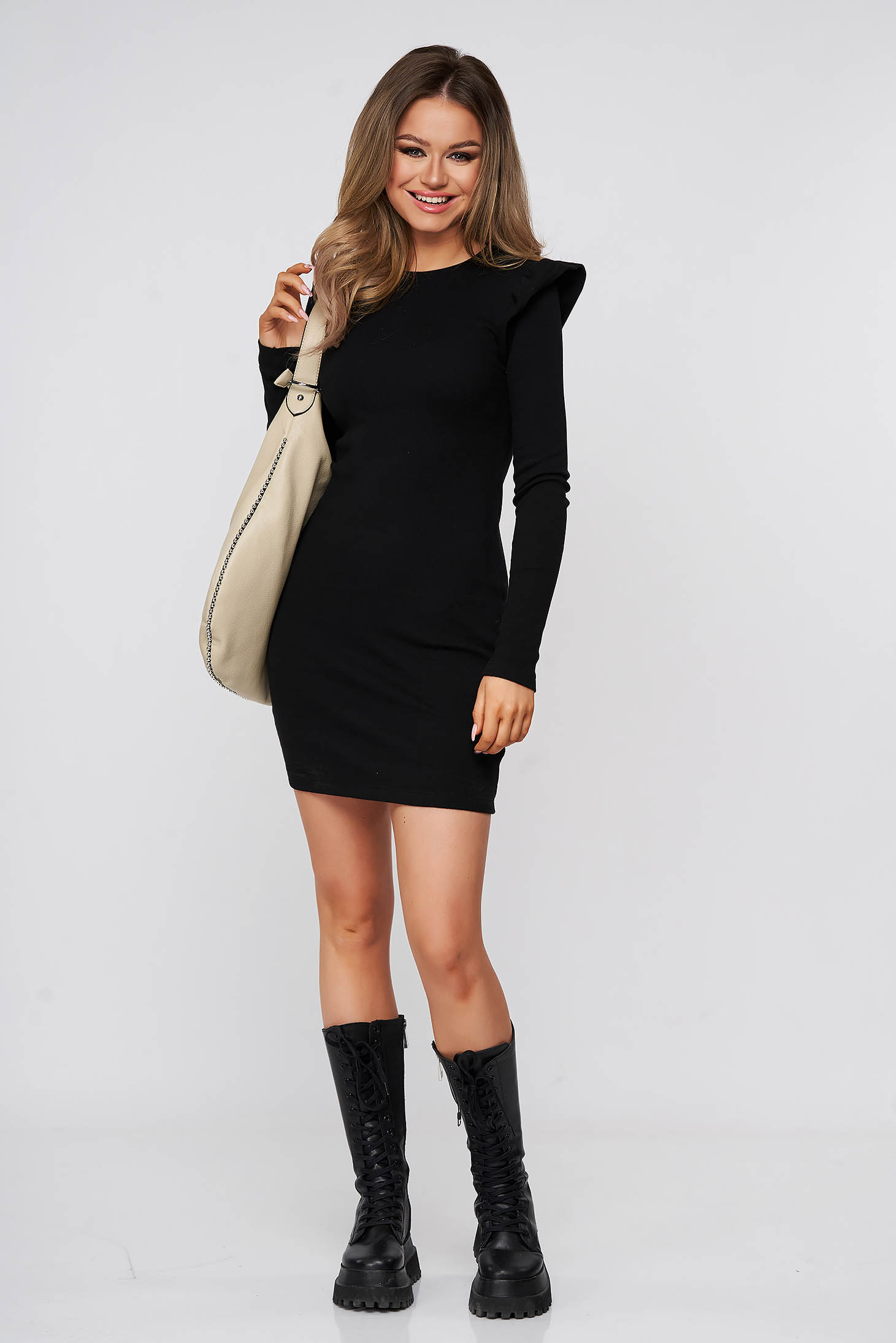 Black dress short cut daily pencil cotton from striped fabric with ruffle details