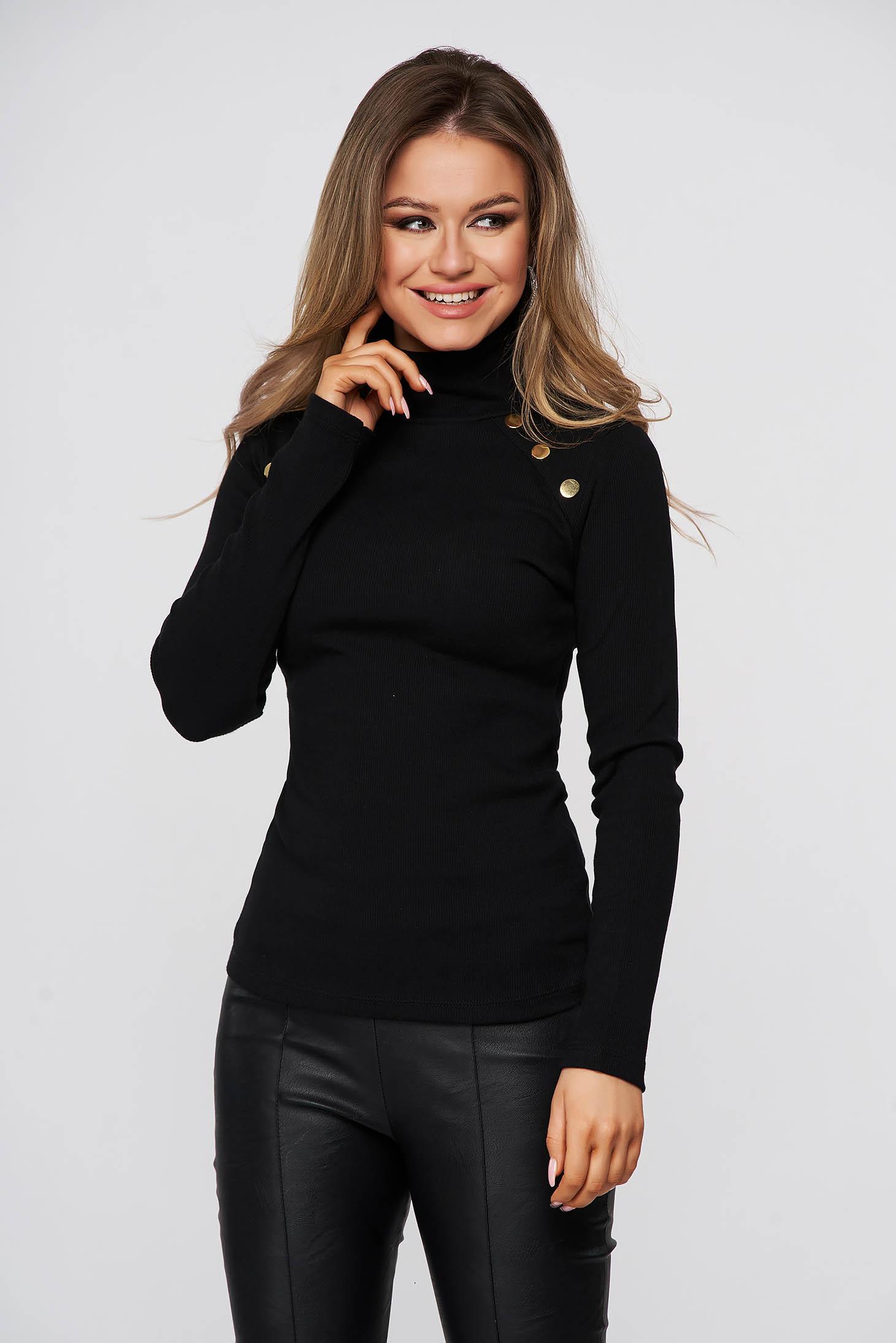 Bluza dama SunShine neagra mulata din bumbac reiat pe gat