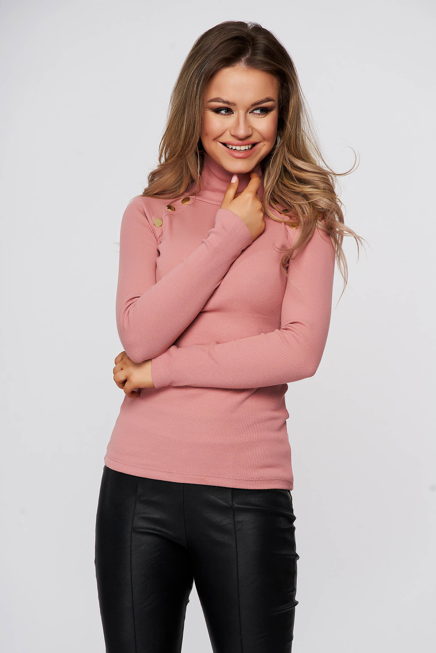 Lightpink women`s blouse cotton from striped fabric with turtle neck tented