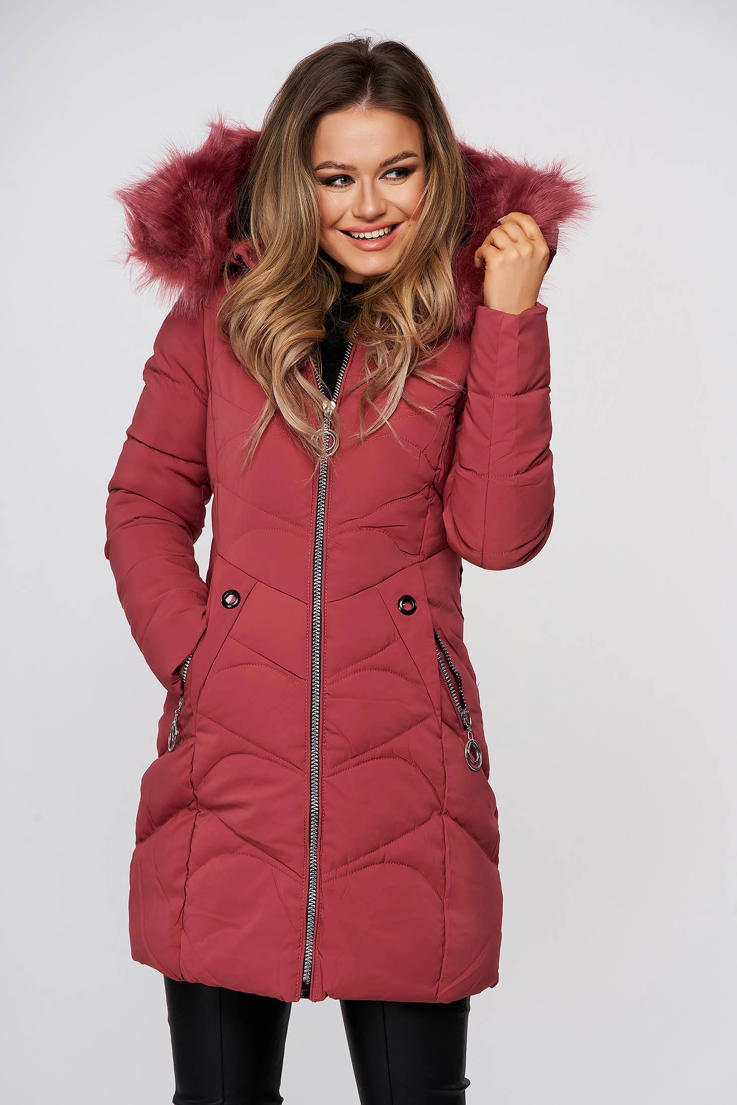 Coral jacket midi from slicker with faux fur lining detachable hood