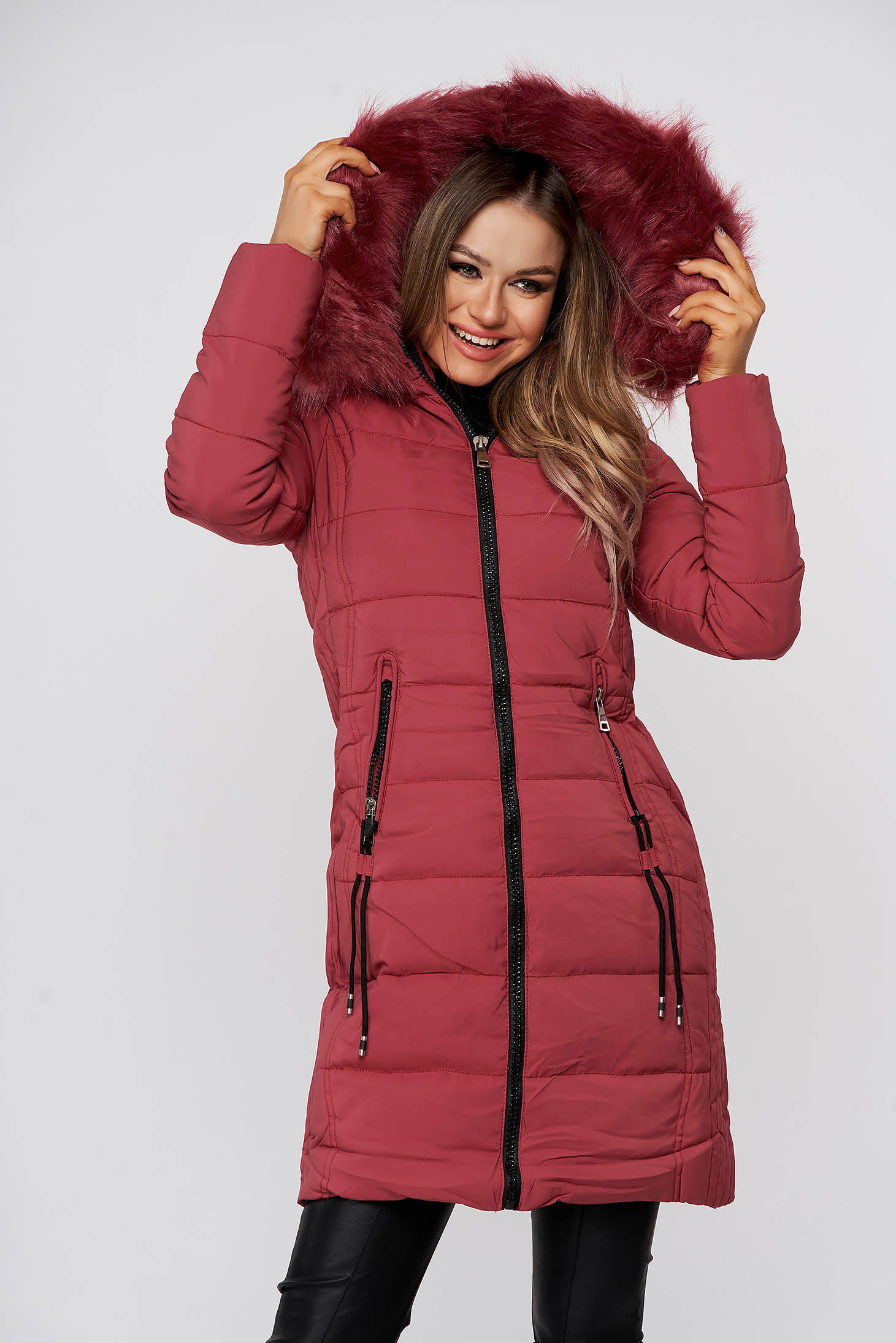 Coral jacket midi from slicker detachable hood with faux fur lining