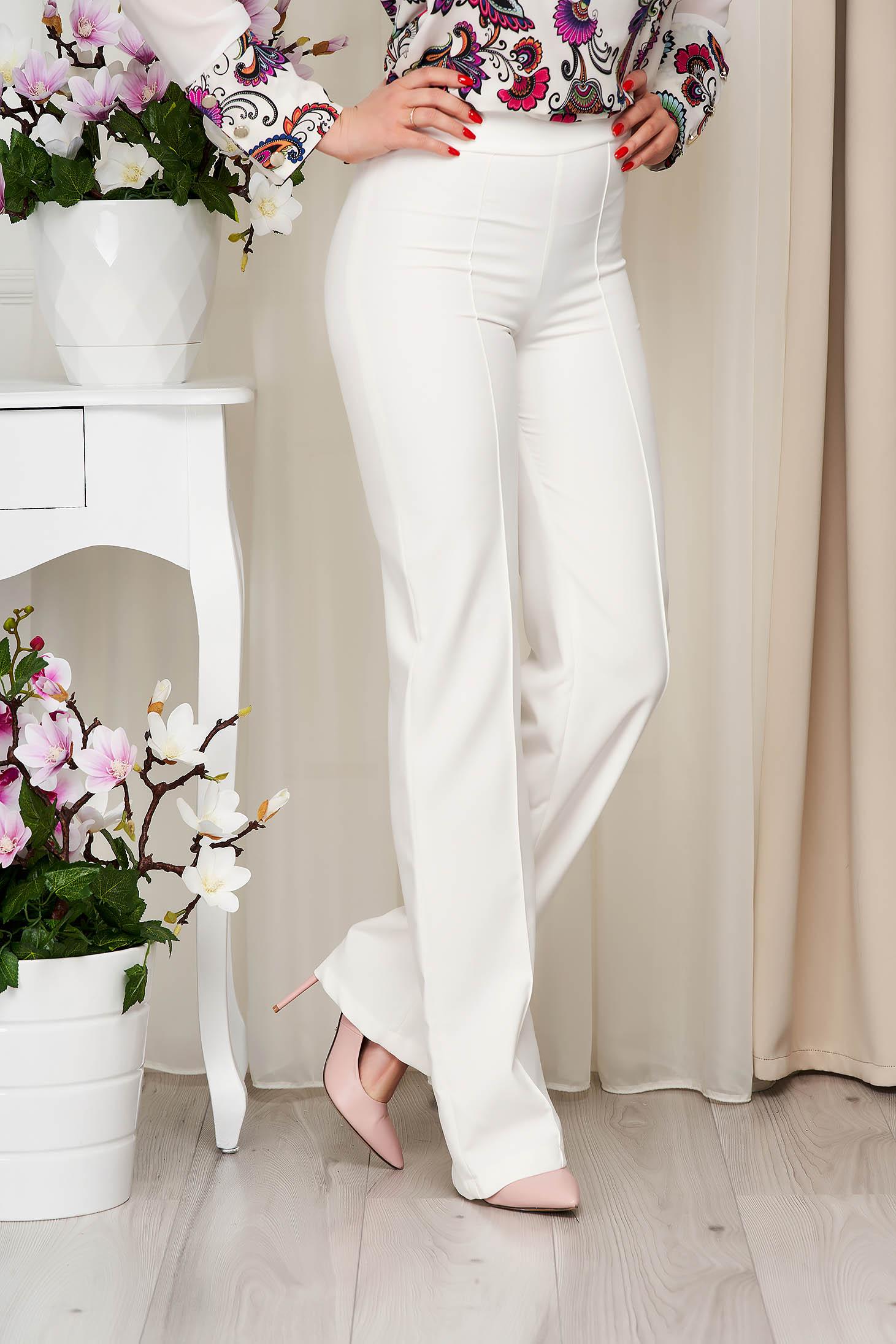 Pantaloni StarShinerS ivoire eleganti lunga evazati din stofa din material elastic