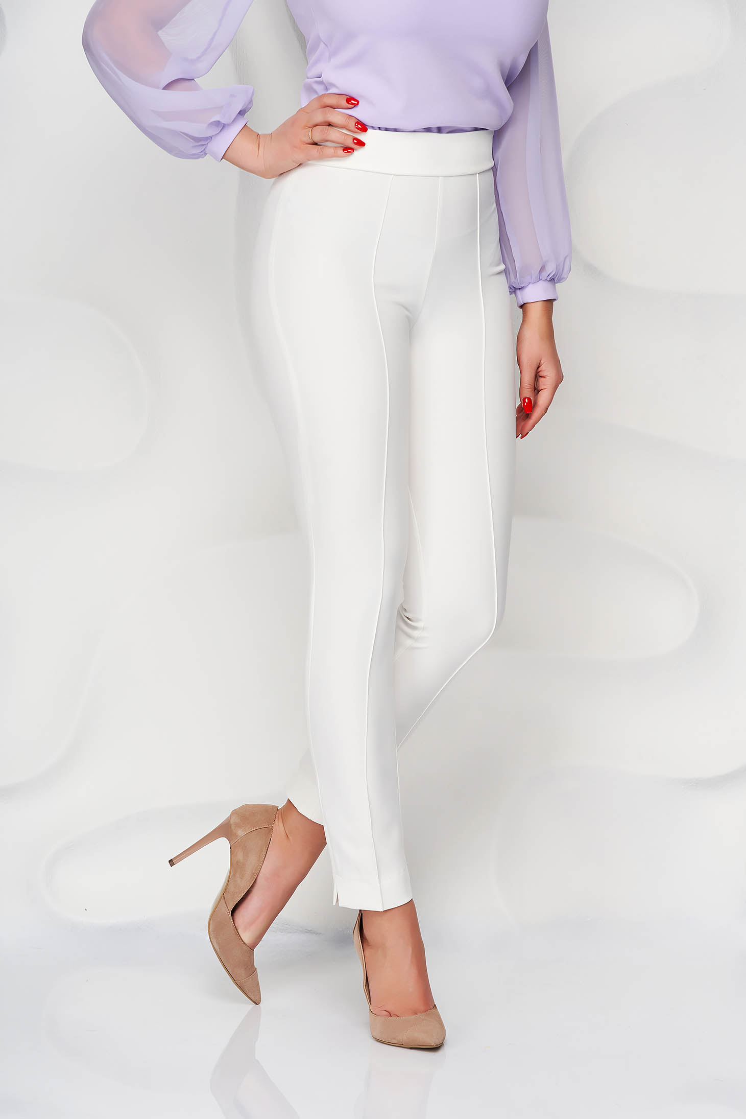 StarShinerS white trousers office high waisted slightly elastic fabric with pockets conical