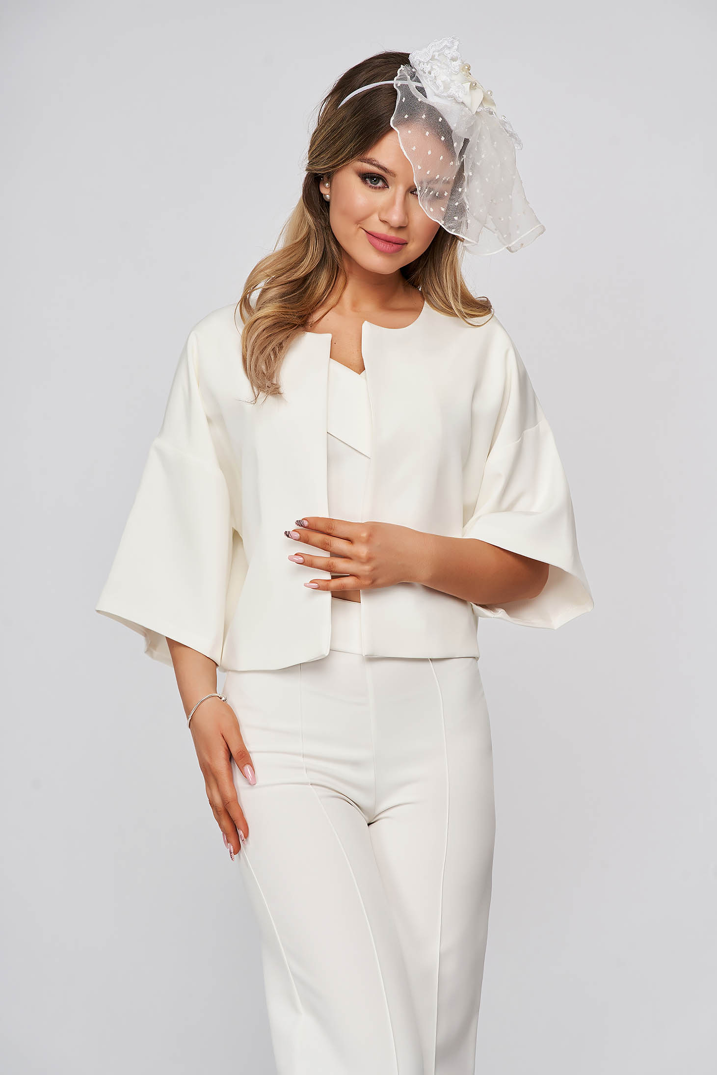 StarShinerS white occasional loose fit jacket 3/4 sleeve from satin fabric texture