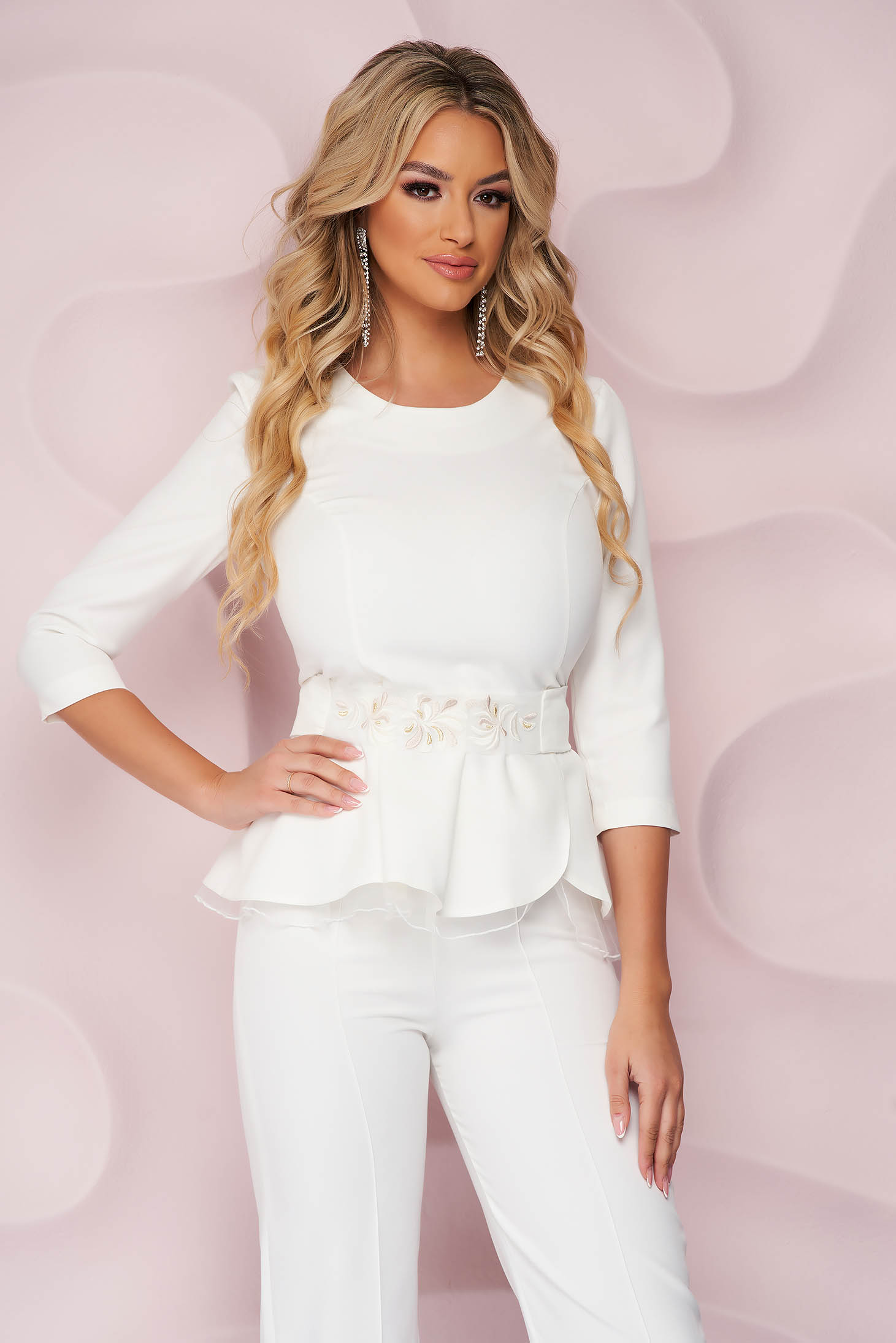 StarShinerS ivory women`s blouse occasional tented cloth from elastic fabric