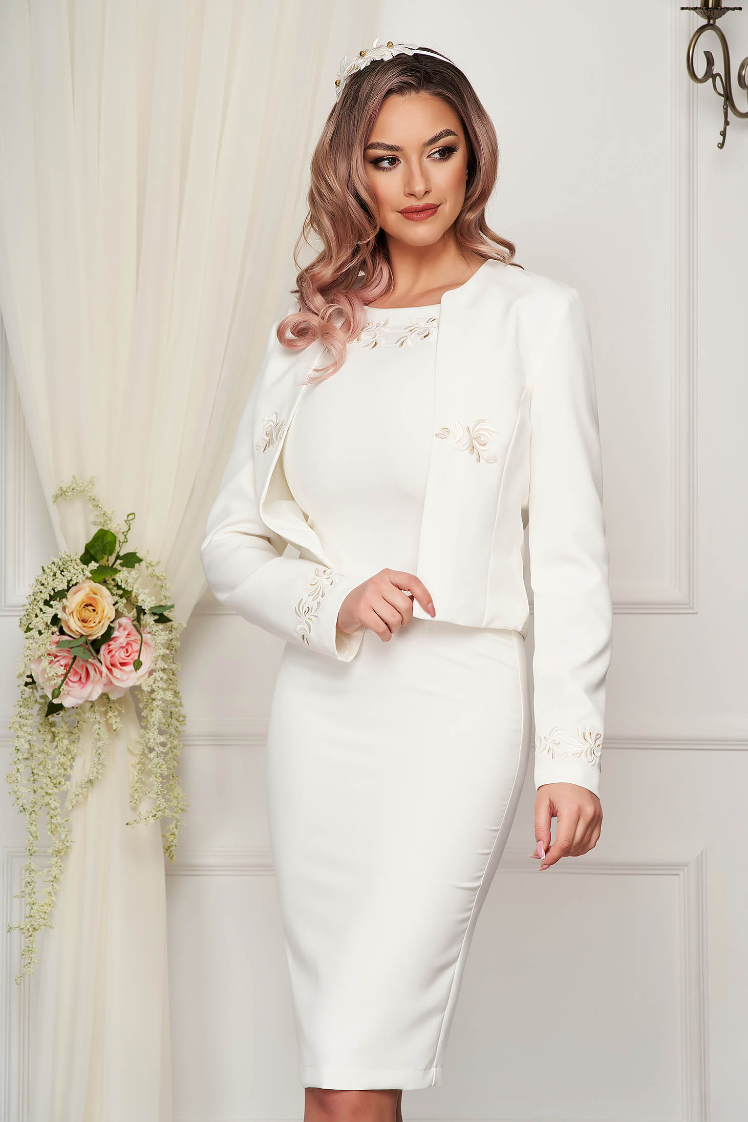 StarShinerS white lady set elegant with dress cloth from elastic fabric with embroidery details
