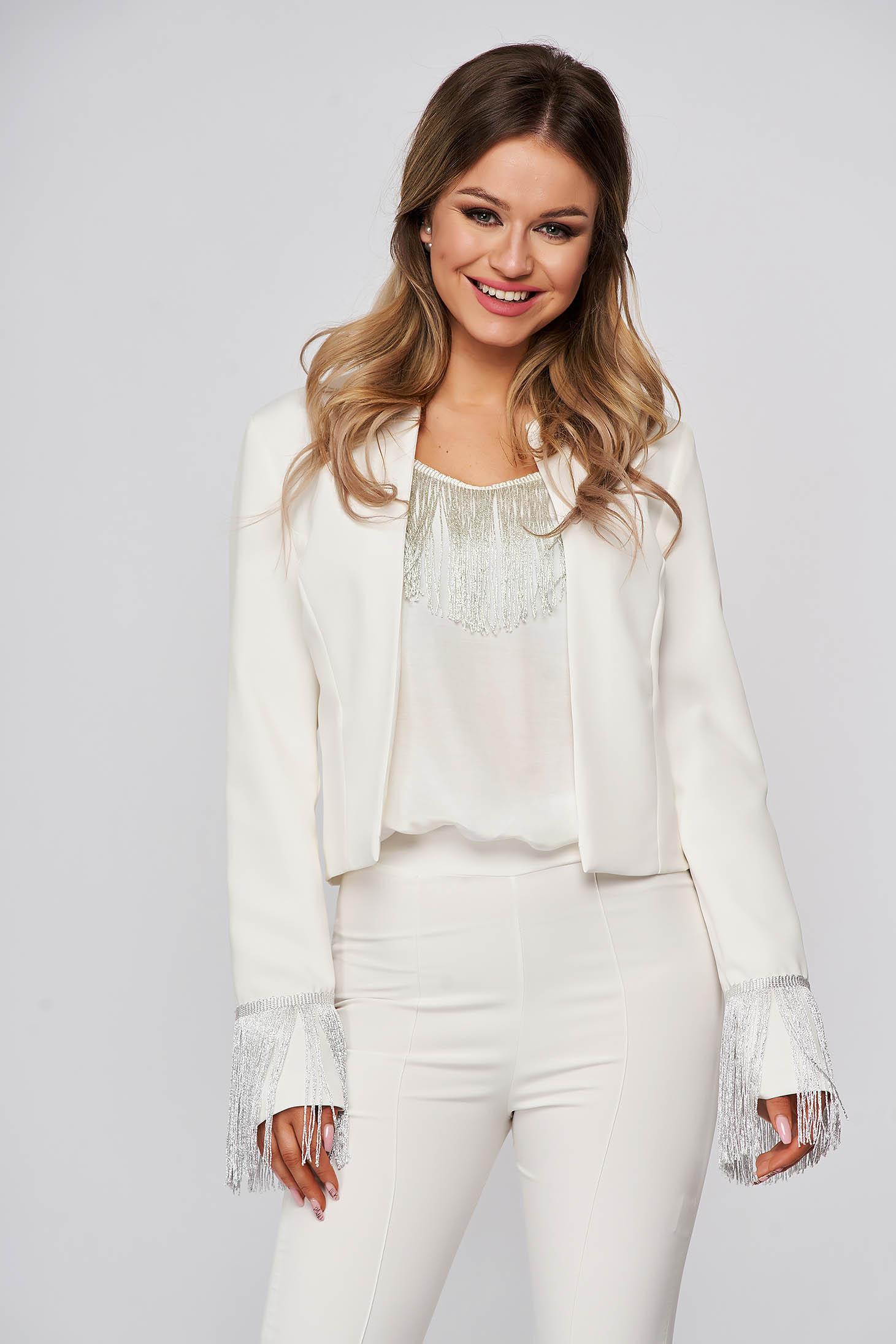Elegant lady set cloth StarShinerS white with fringes