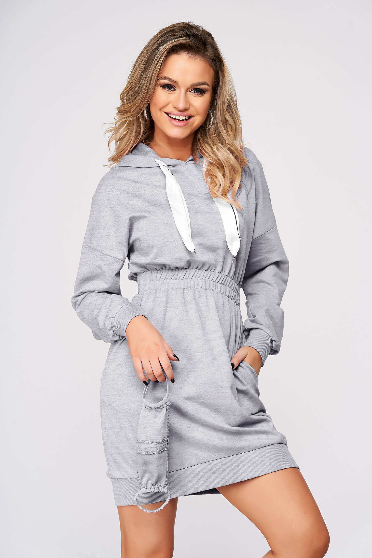 Grey dress casual pencil short cut cotton with pockets