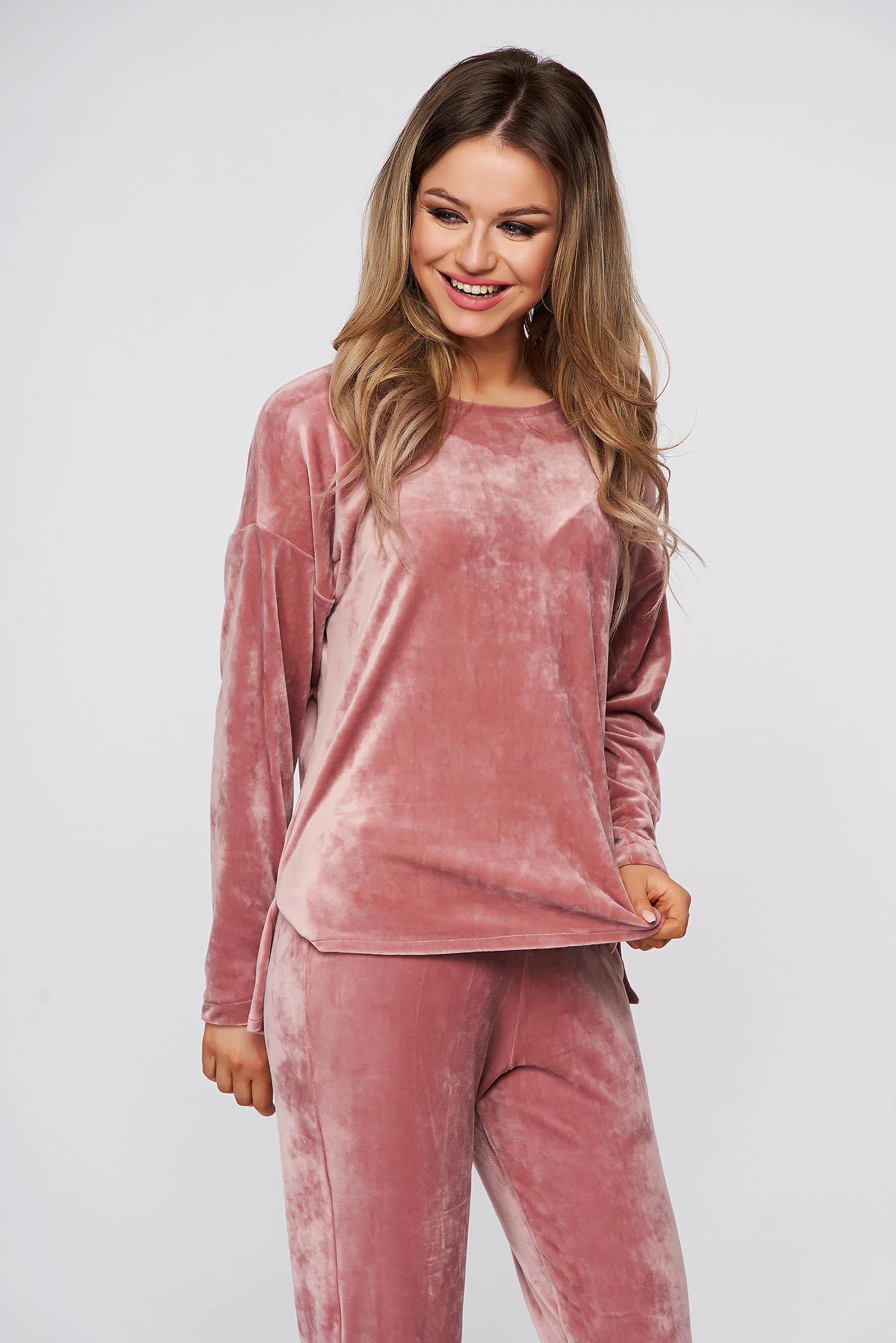 Trening StarShinerS roz prafuit din plus cu elastic in talie si bluza asimetrica