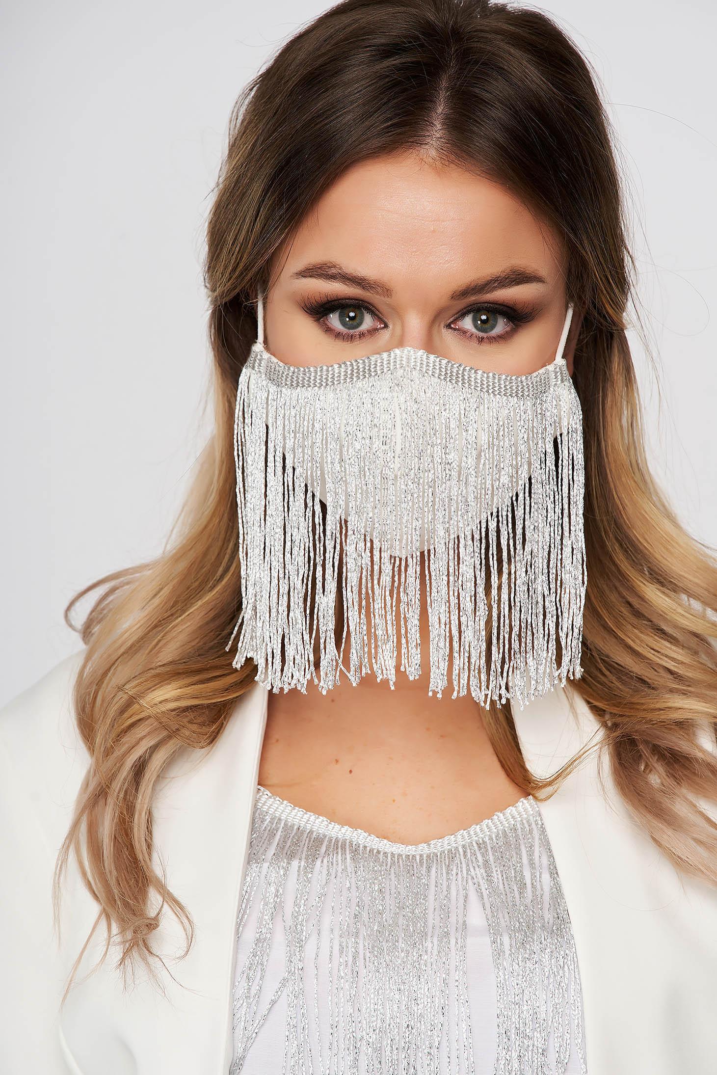 Masca textila pentru femei StarShinerS ivoire cu franjuri