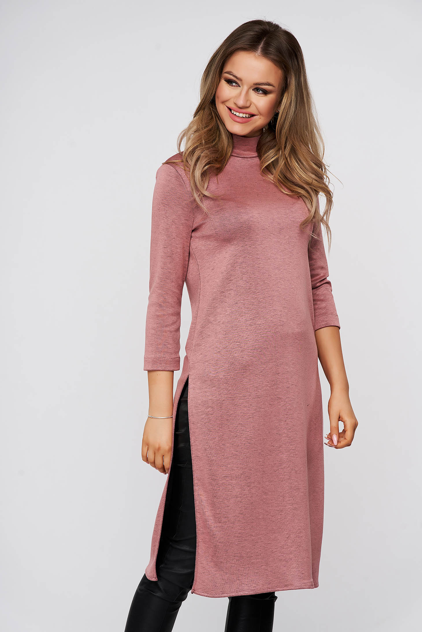 StarShinerS lightpink with tented cut casual long women`s blouse from elastic fabric