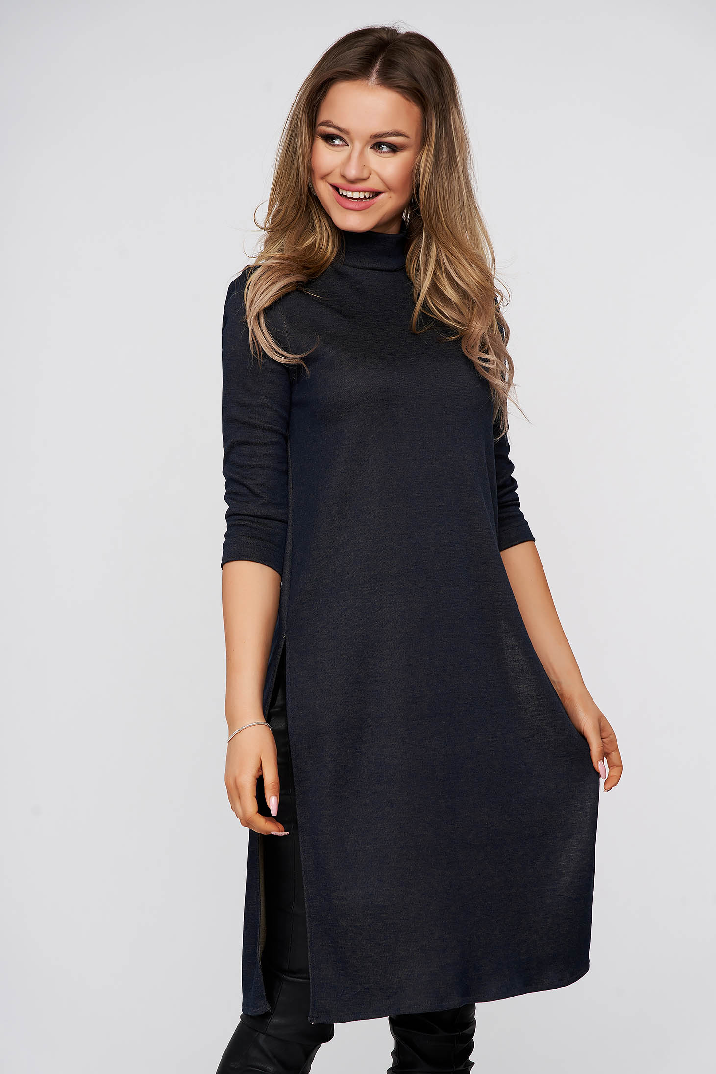 StarShinerS darkblue with tented cut casual long women`s blouse from elastic fabric