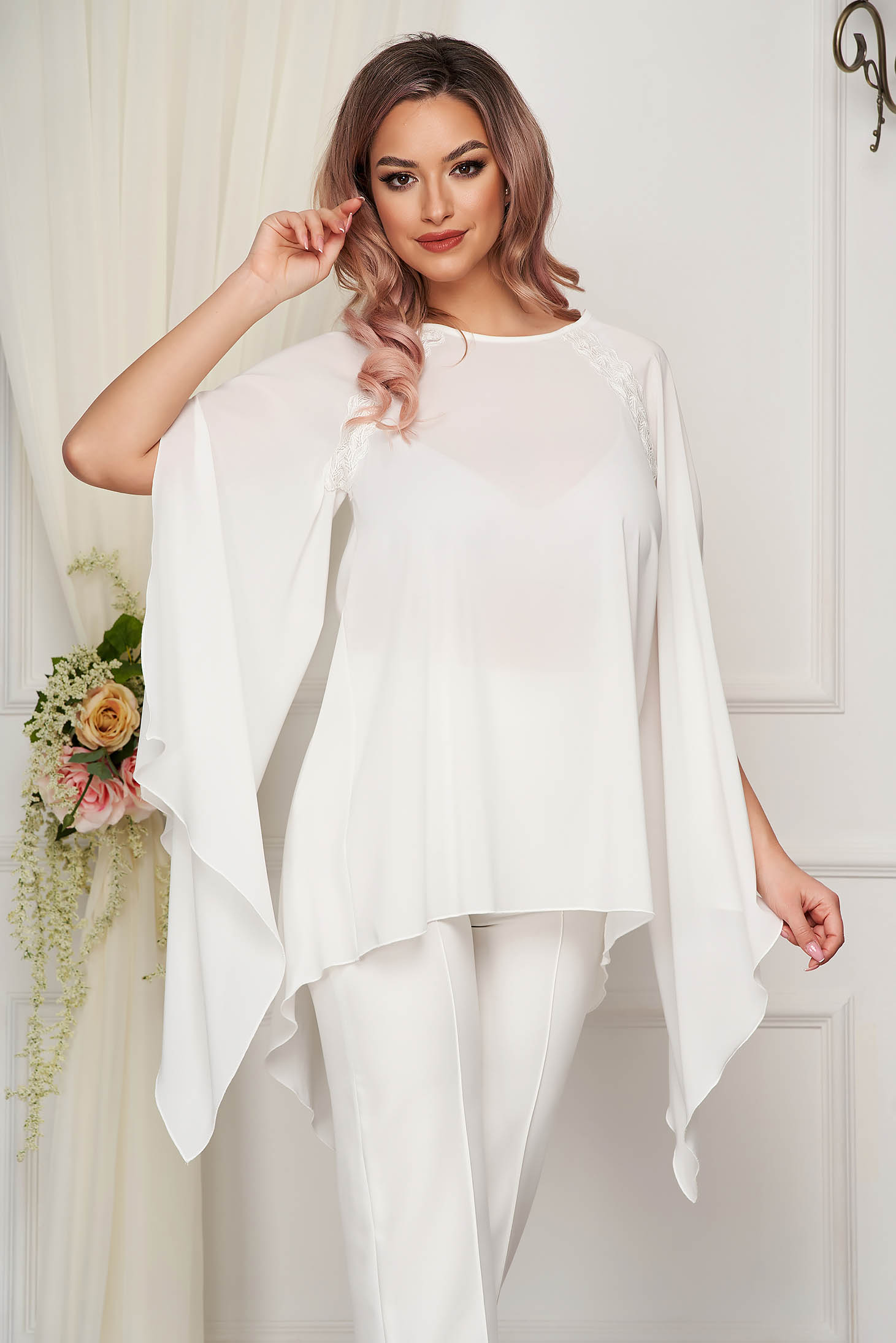 StarShinerS white women`s blouse asymmetrical occasional loose fit from veil fabric with cut-out sleeves