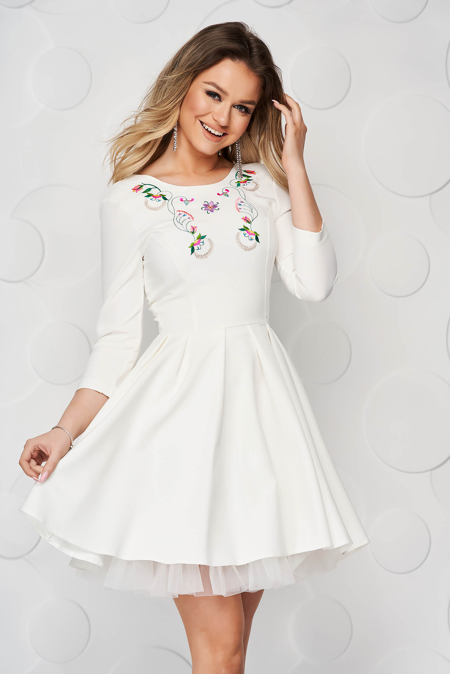 StarShinerS ivory occasional cloche short cut cloth dress from tulle