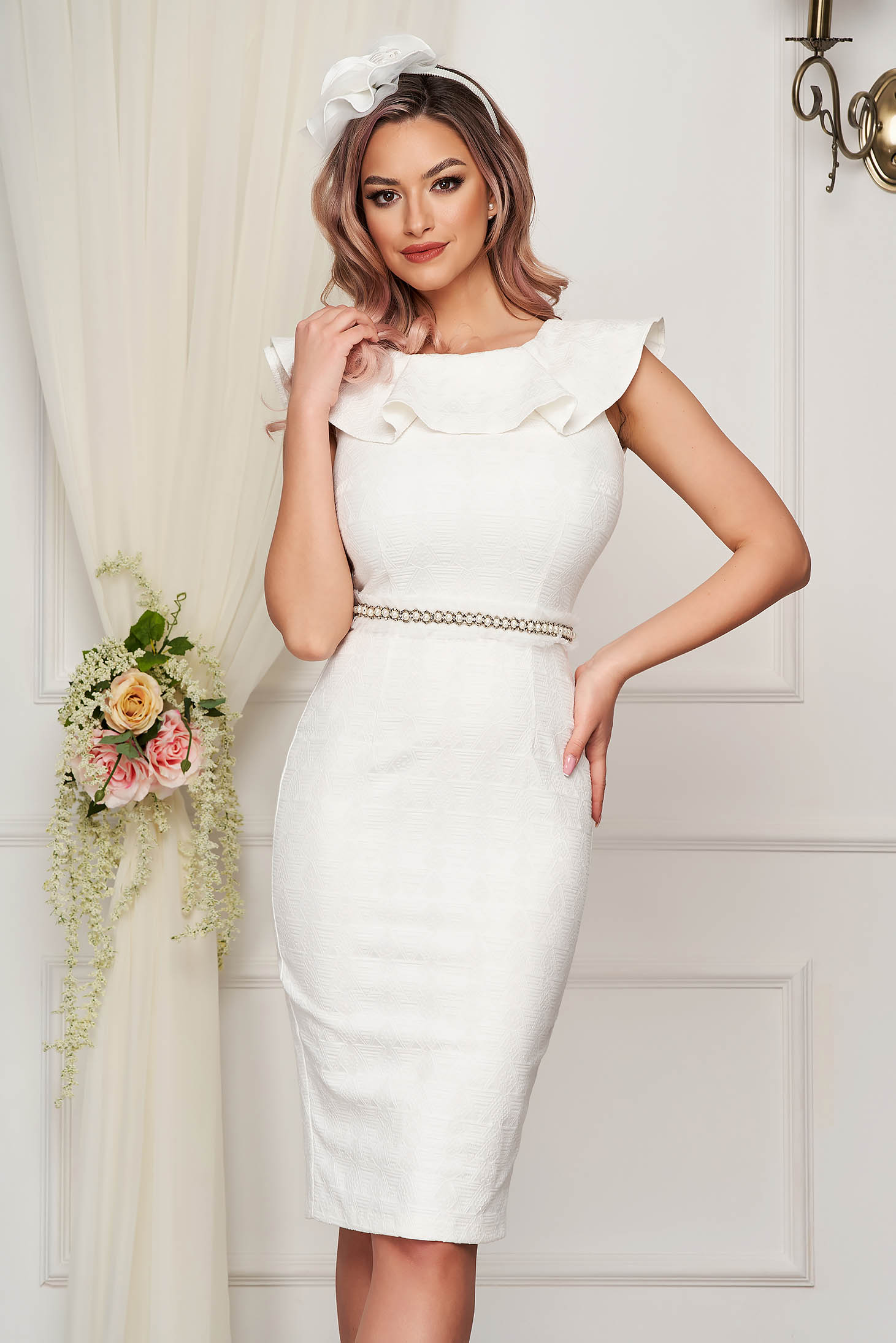 StarShinerS white dress occasional midi pencil jacquard sleeveless with ruffle details