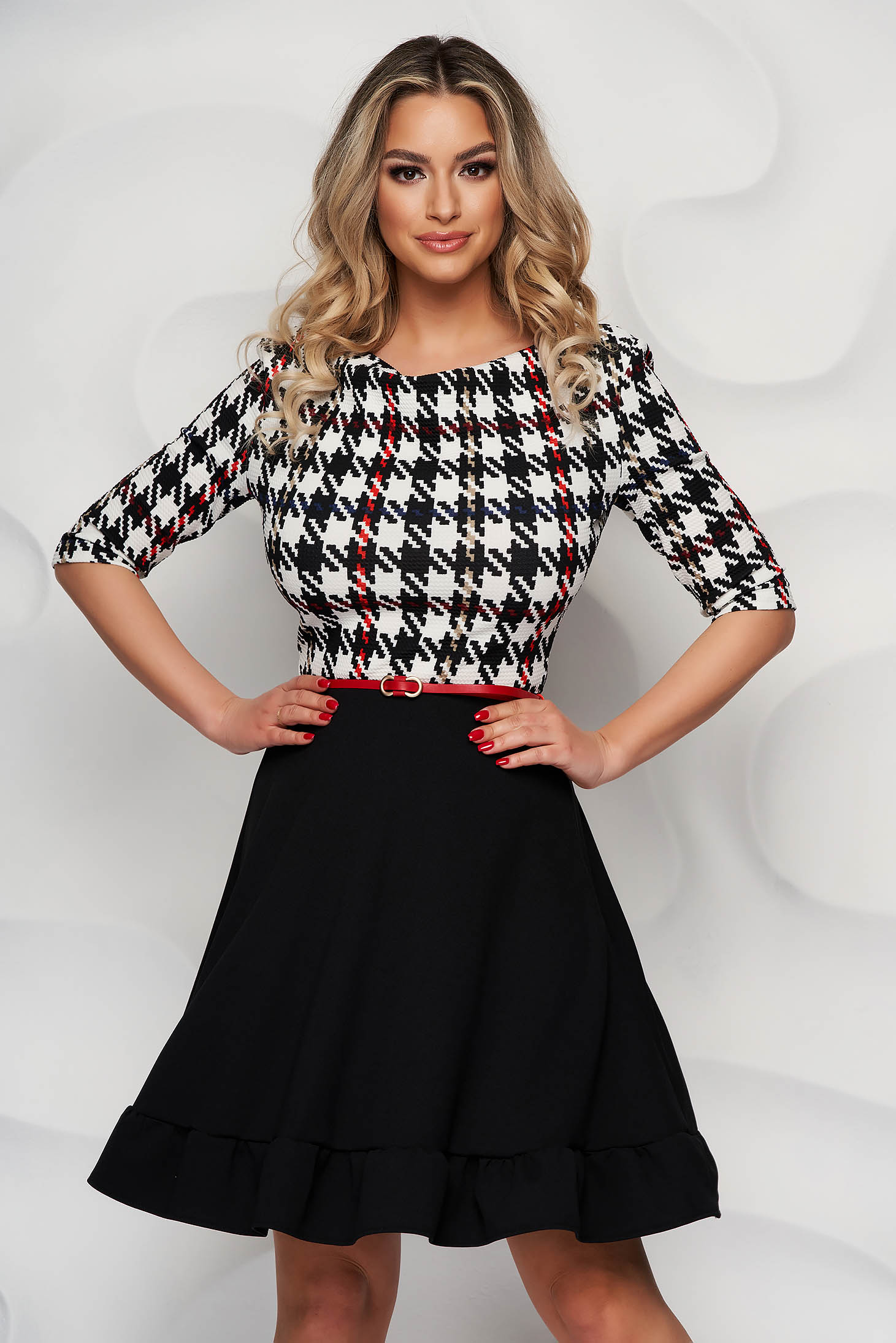 StarShinerS cloche with geometrical print black office dress