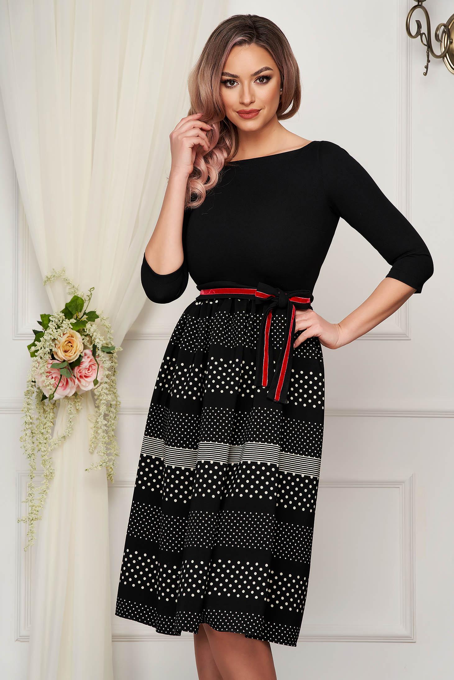Dress StarShinerS black elegant midi cloche with 3/4 sleeves