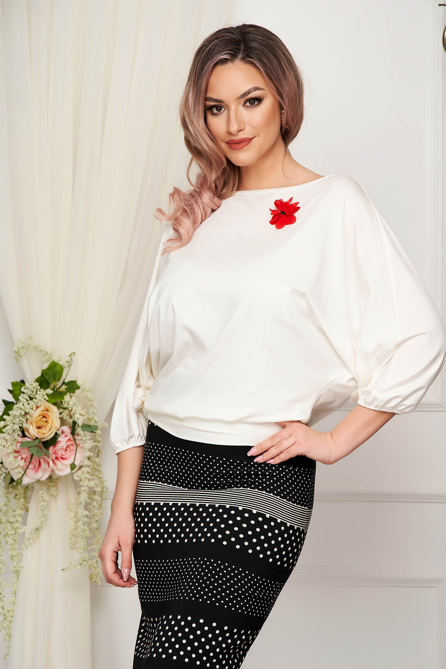 Elegant ivory loose fit women`s blouse StarShinerS from elastic fabric